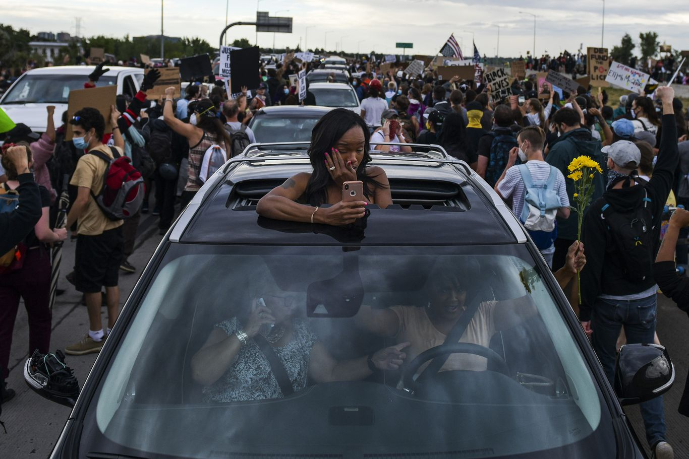 Car drives into Black Lives Matter protest crowd in Colorado