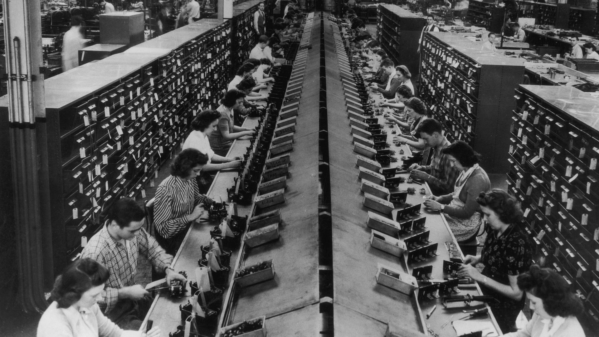 Workers in assembly line