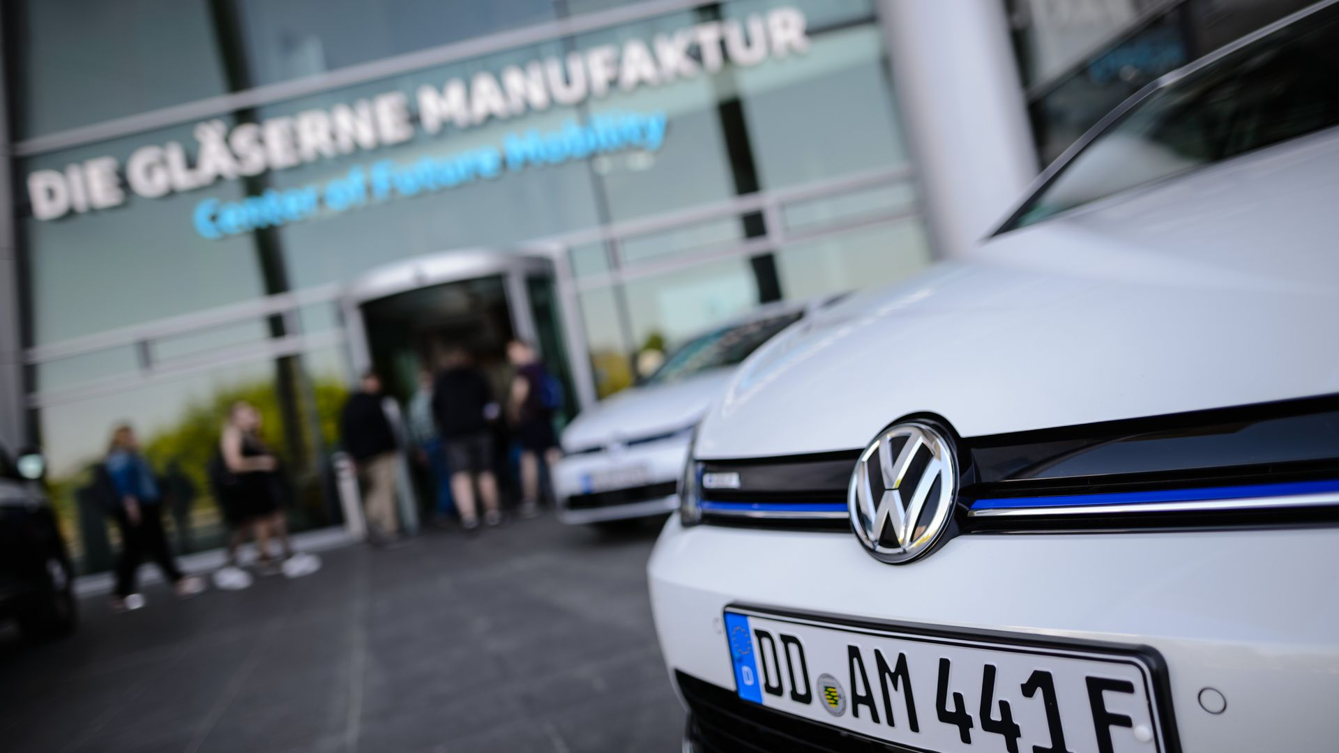 The front of a Volkswagen e-Golf electric car in front of the Volkswagen AG factory in Germany