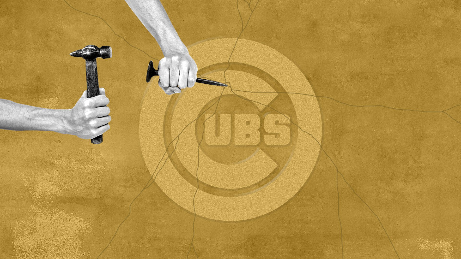 Photo illustration of hands holding a chisel and hammer breaking a carved Cubs logo