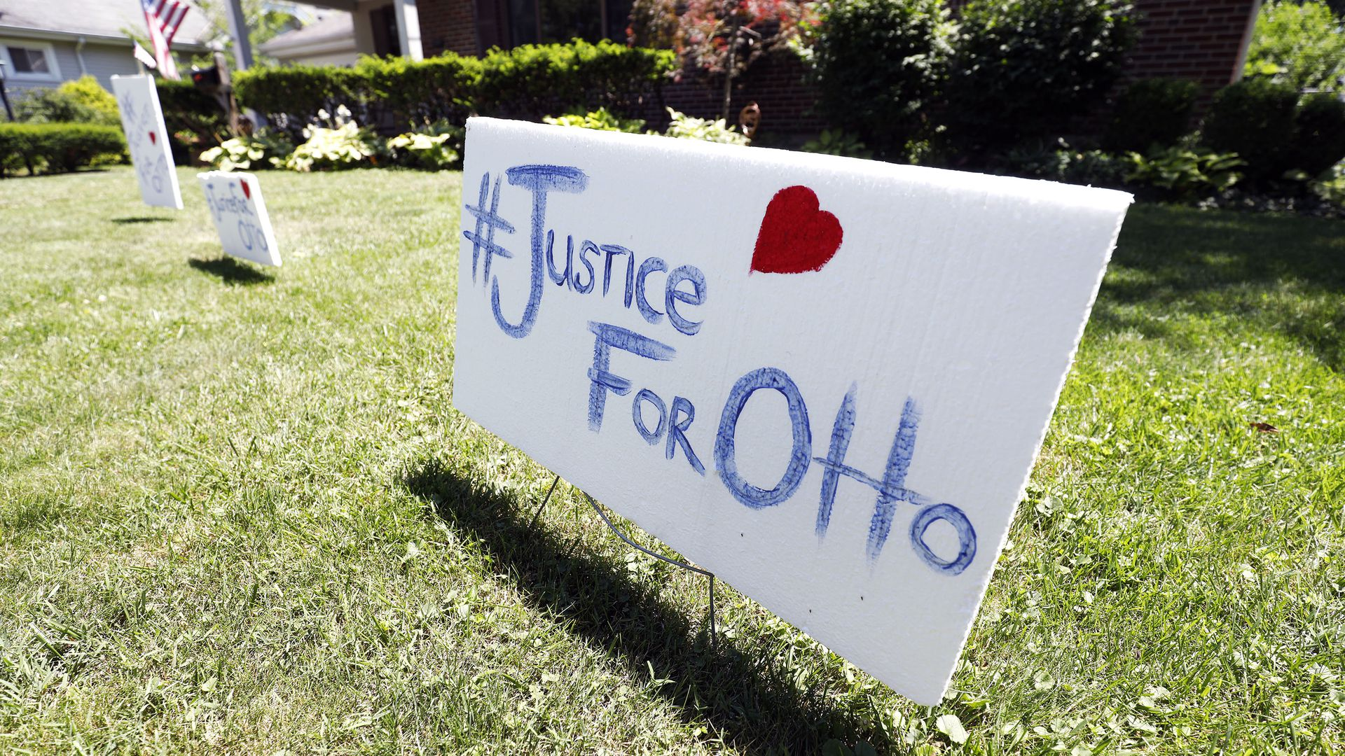 "A lawn sign in Wyoming, Ohio, that says ""Justice for Otto"""