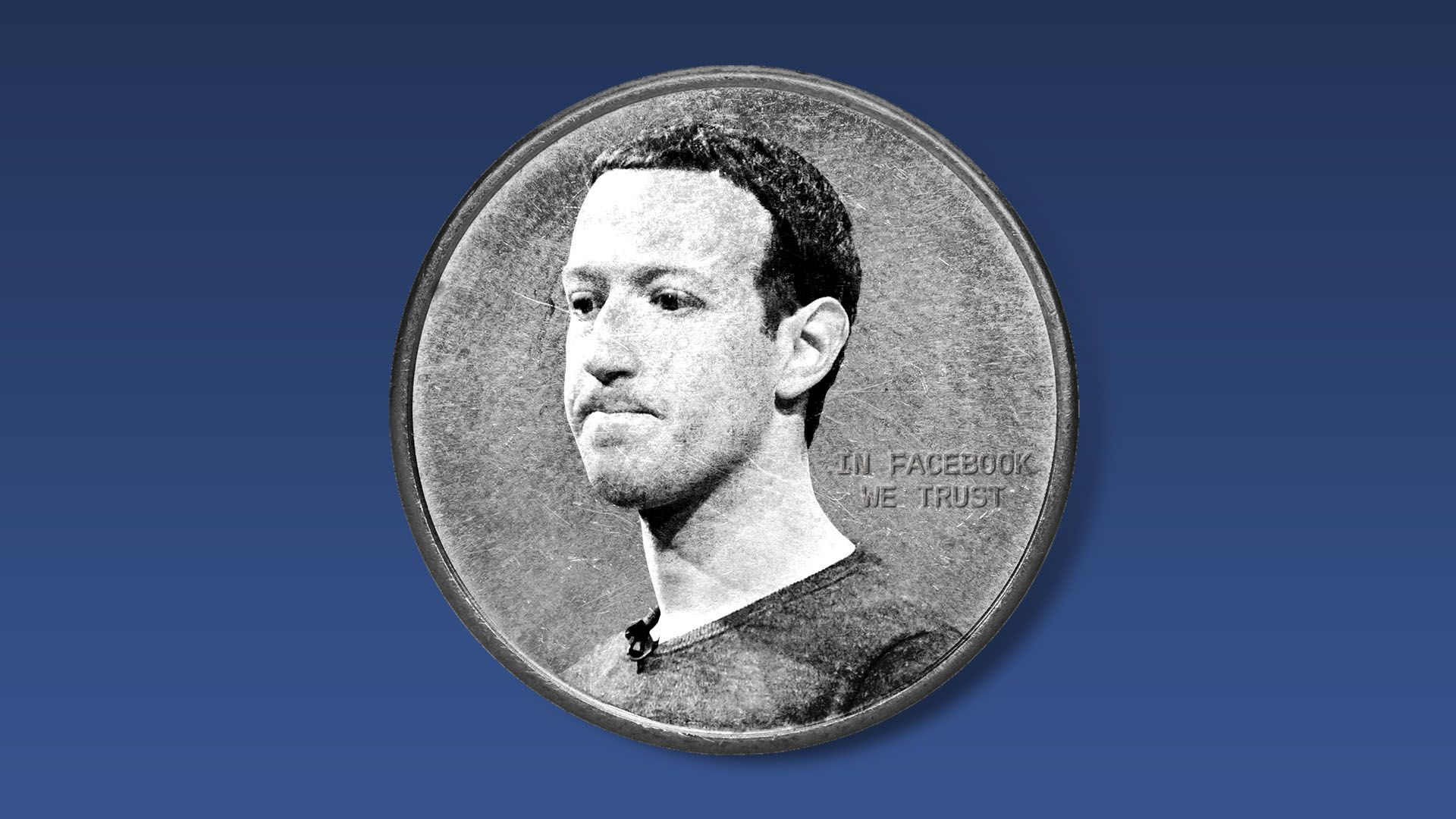 Illustration of a coin with Mark Zuckerberg's face on it