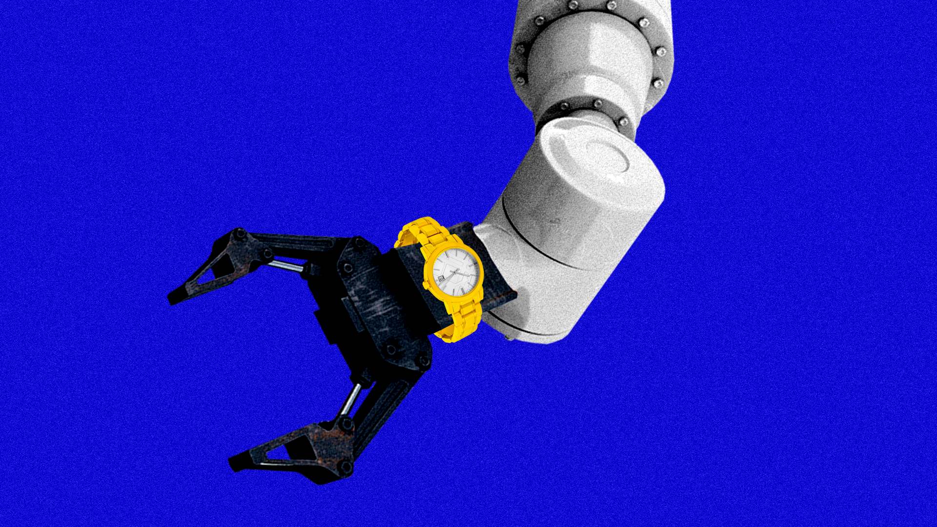 Illustration of a robot arm wearing a watch