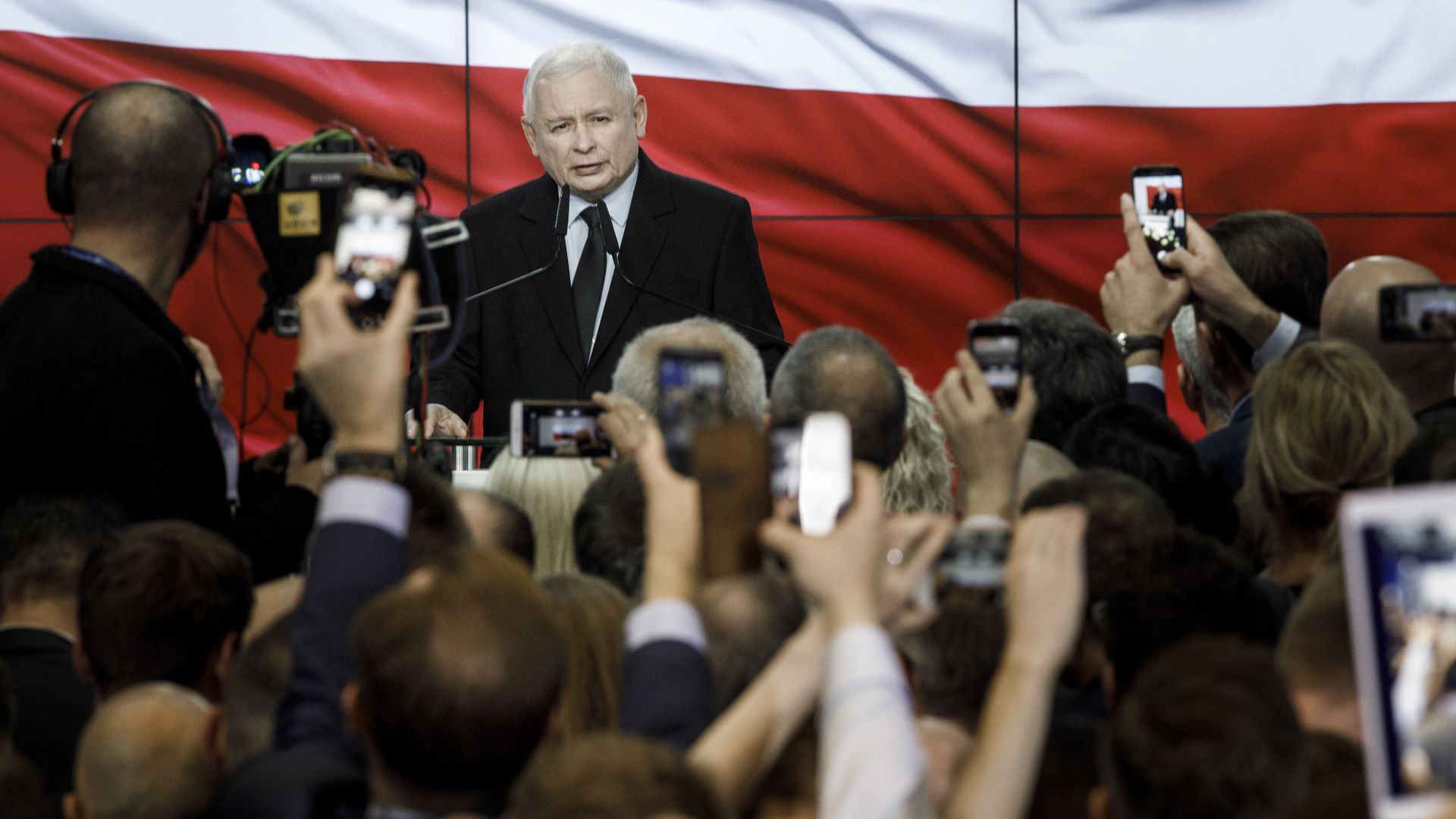 Jaroslaw Kaczynski, leader of the Law and Justice political party (PiS), speaks to his supporters.