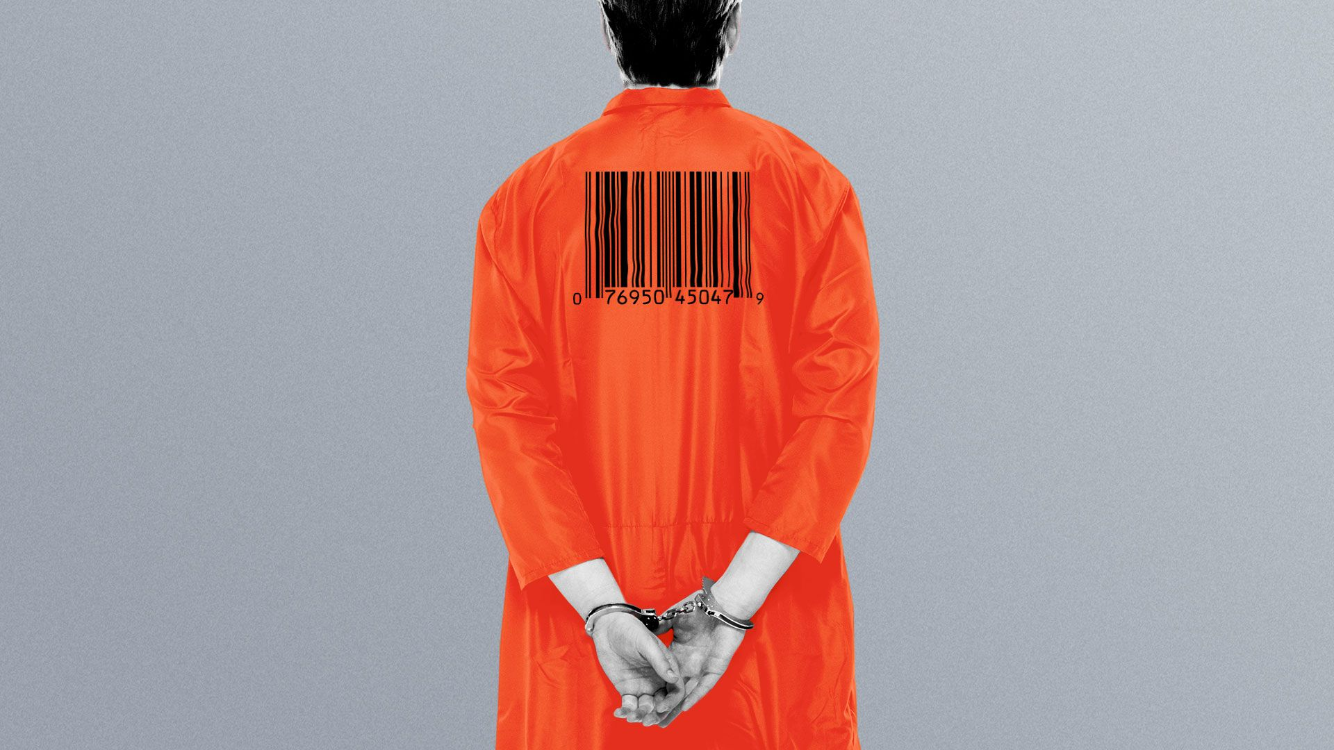 Illustration of an inmate with a barcode on the back of his uniform