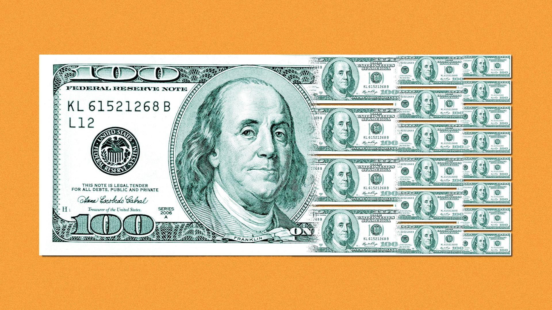 Illustration of a hundred-dollar bill breaking into smaller hundred-dollar bills.