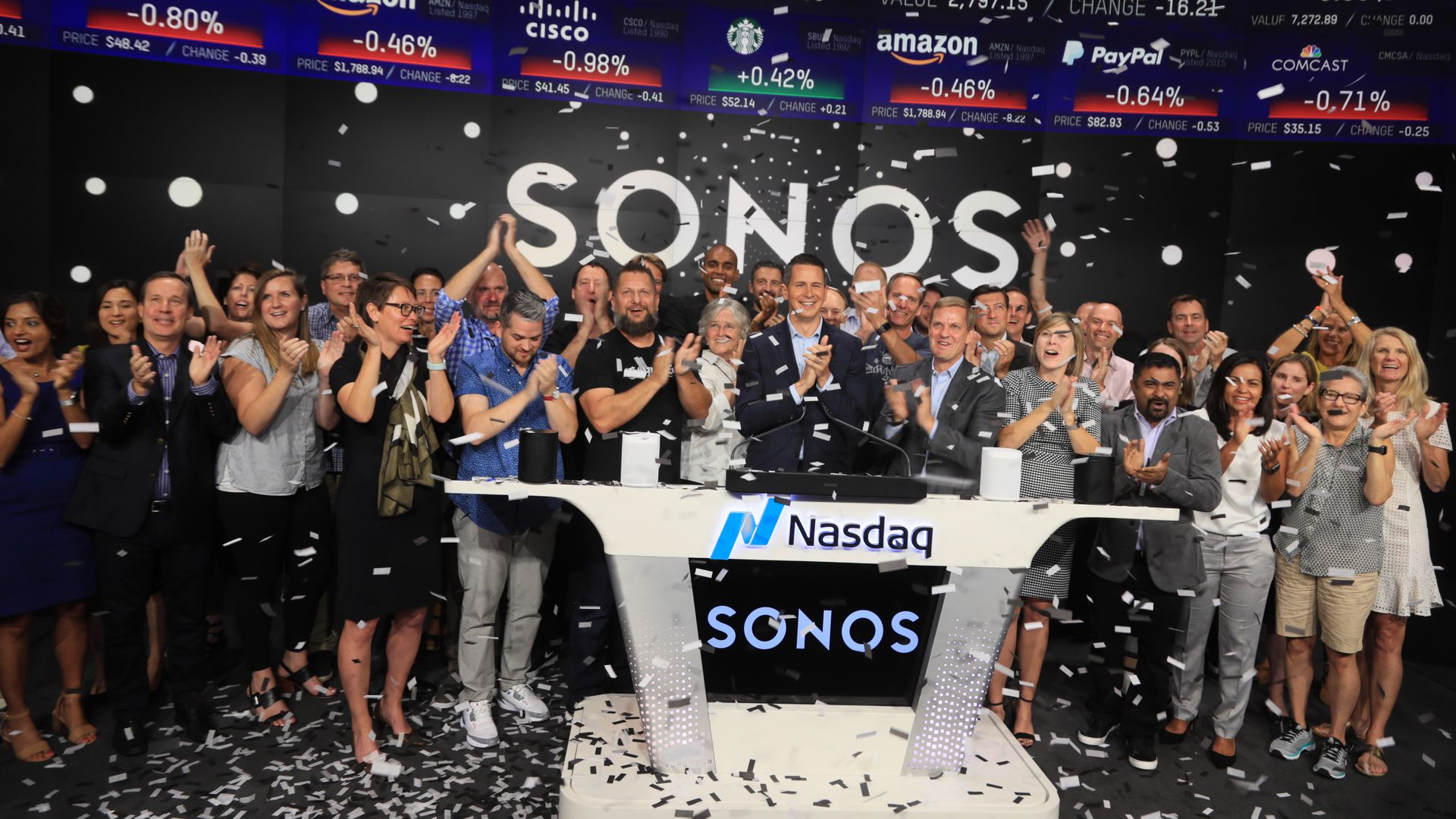Sonos employees celebrate the company's IPO