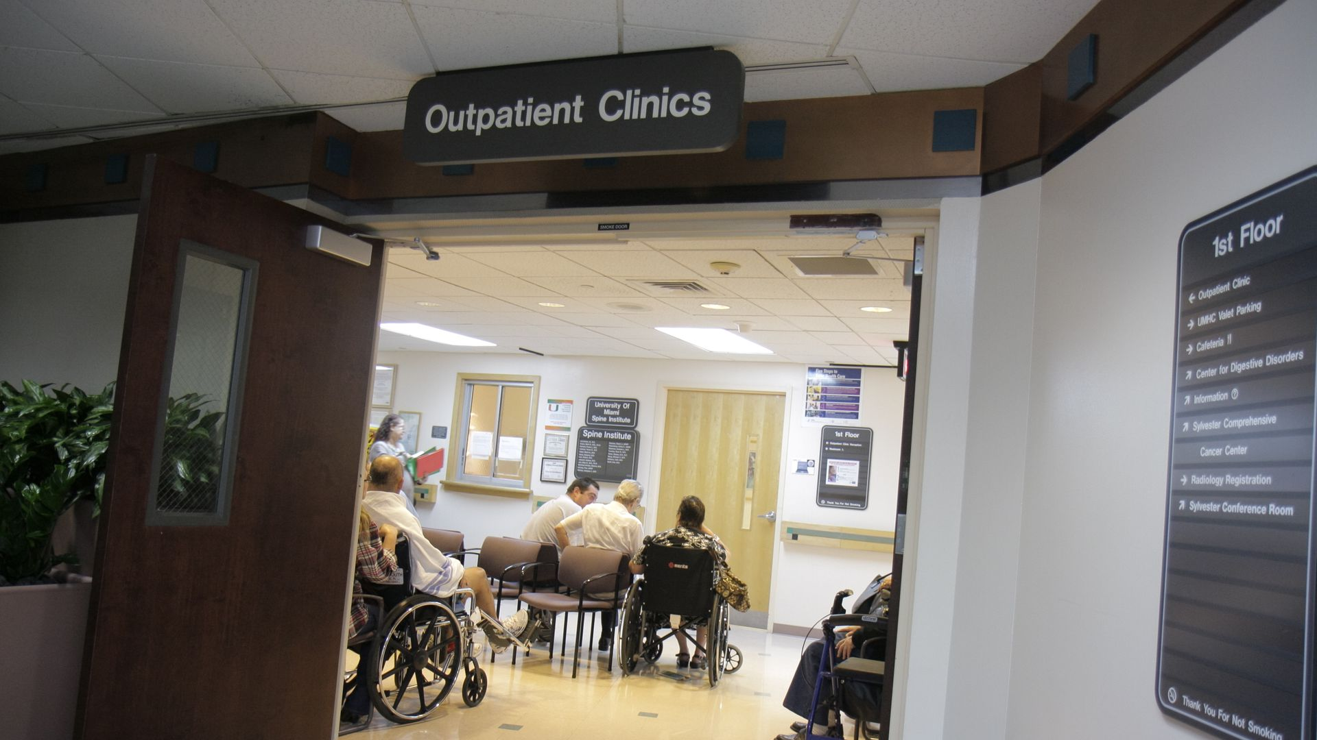 A hospital outpatient clinic where patients are waiting.