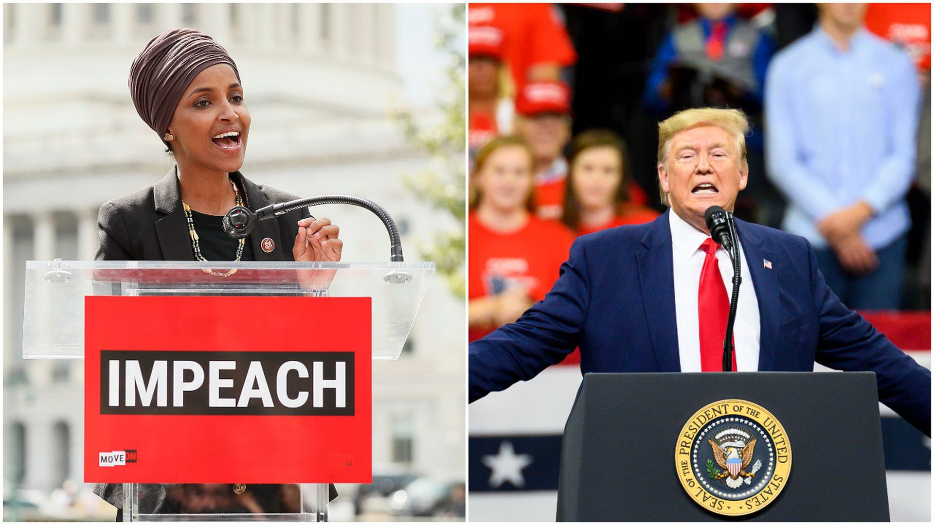 Rep. Ilhan Omar and President Trump