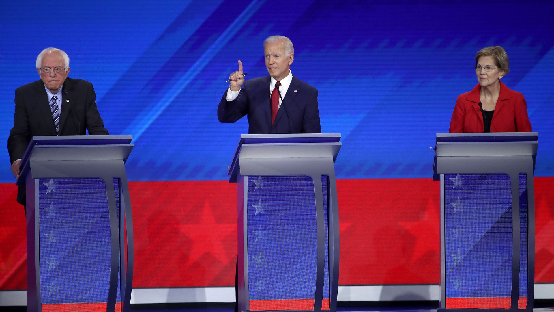 A picture of Biden, Sanders and Warren on a previous debate stage.