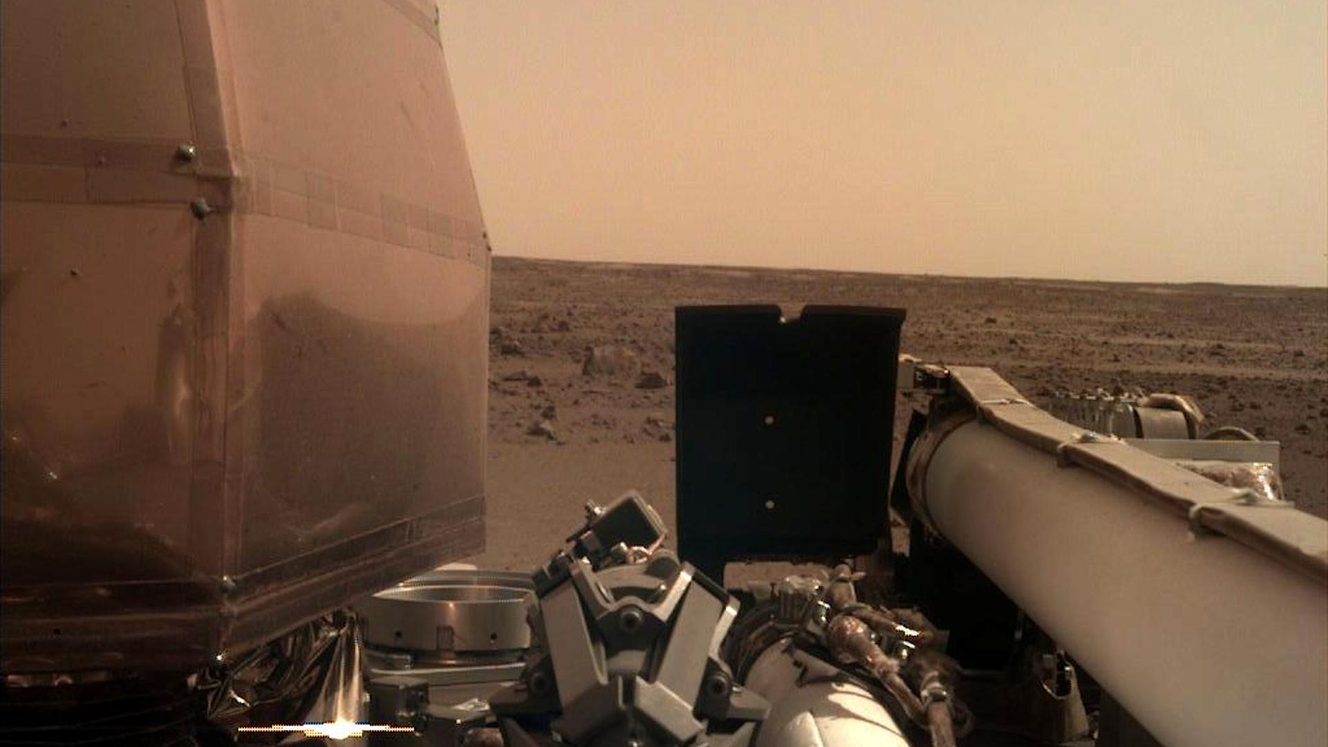 The Instrument Deployment Camera (IDC), located on the robotic arm of NASA's InSight lander, took this picture of the Martian surface on Nov. 26, 2018.