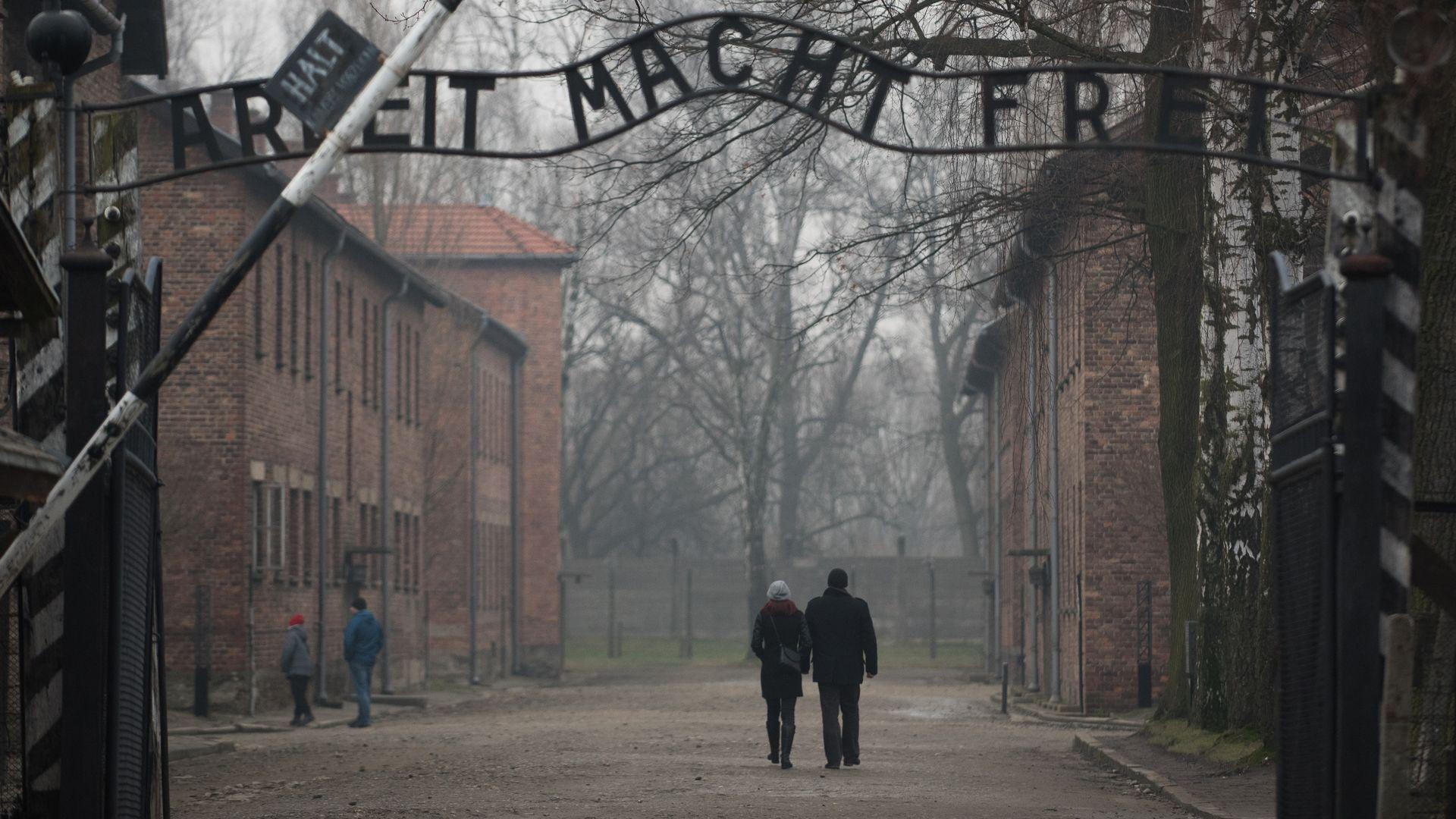 The Auschwitz main gate.
