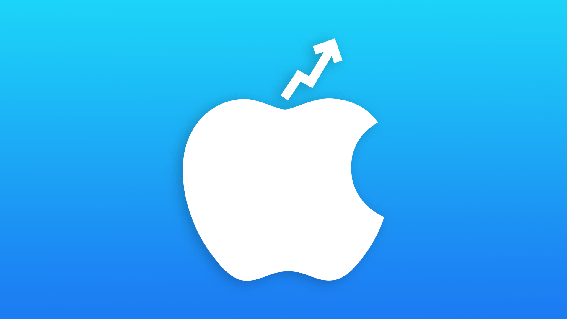 An Apple logo with a stock arrow going up