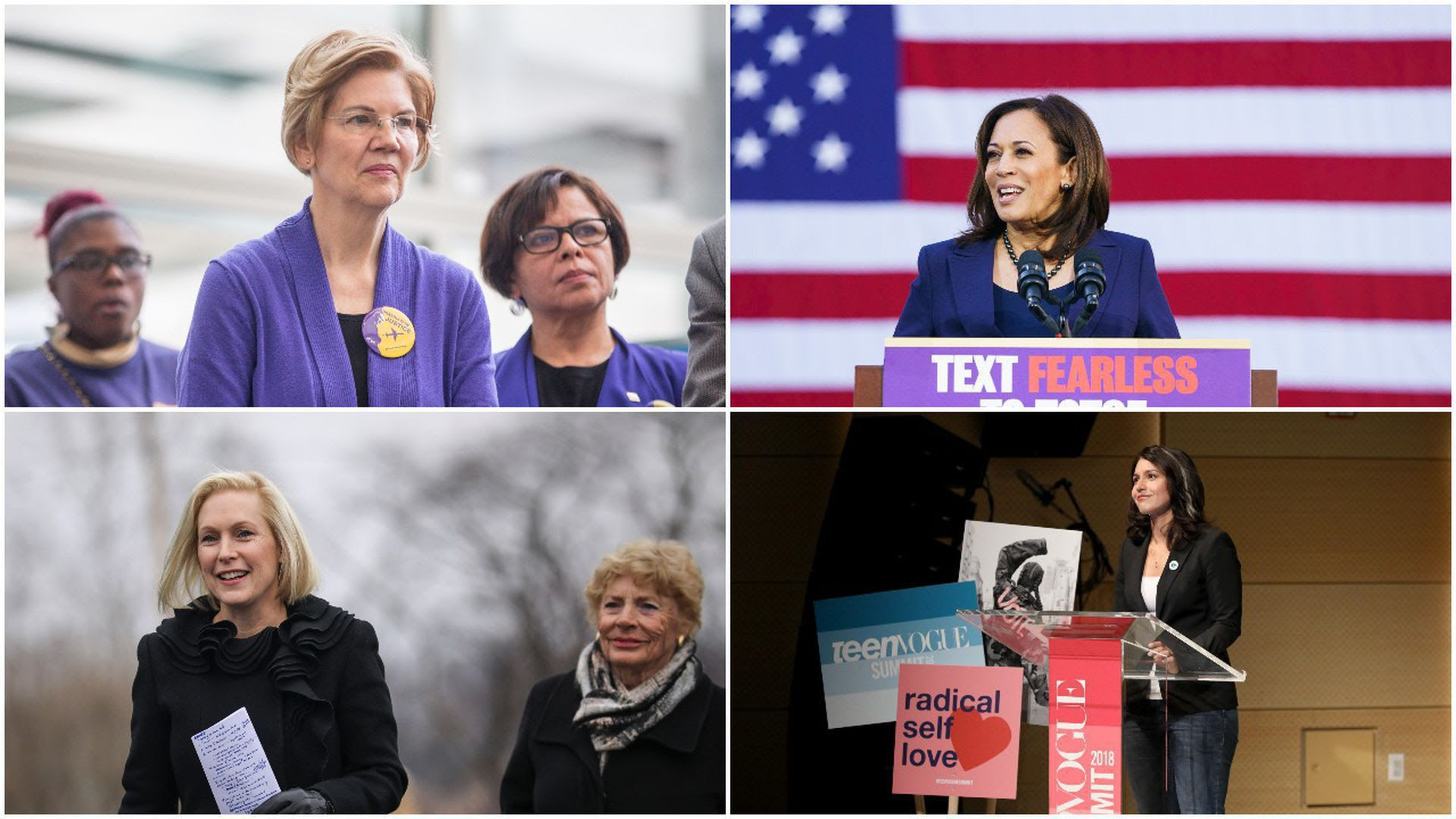 Photo with four quadrants from top left, clockwise: Elizabeth Warren, Kamala Harris, Tulsi Gabbard and Kirsten Gillibrand