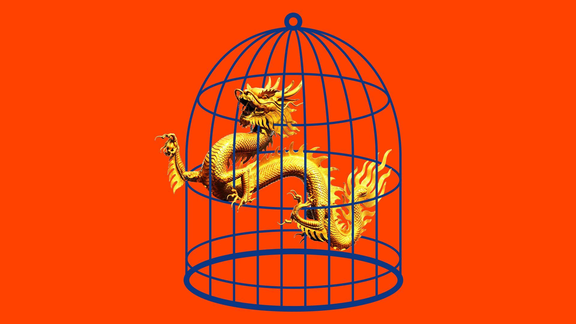 An illustration of a Chinese dragon caught in a cage