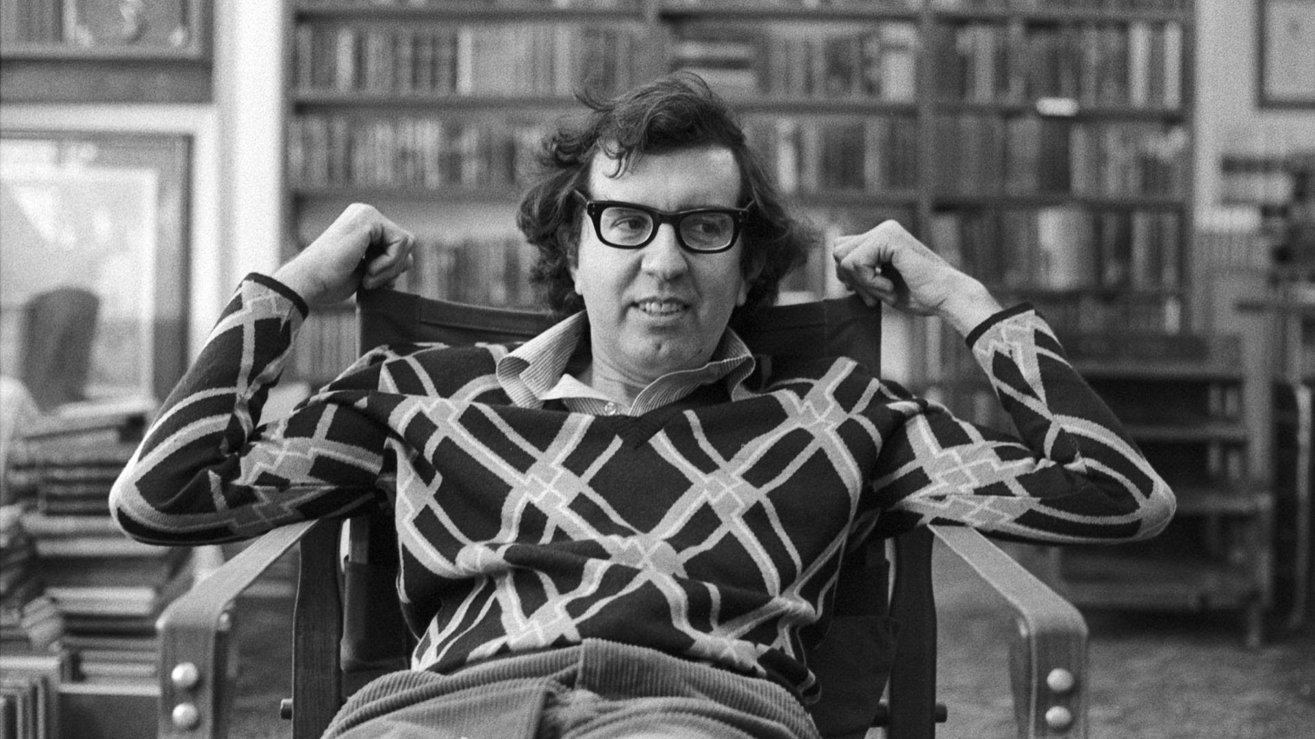Author Larry McMurtry sits in his store, Booked Up.