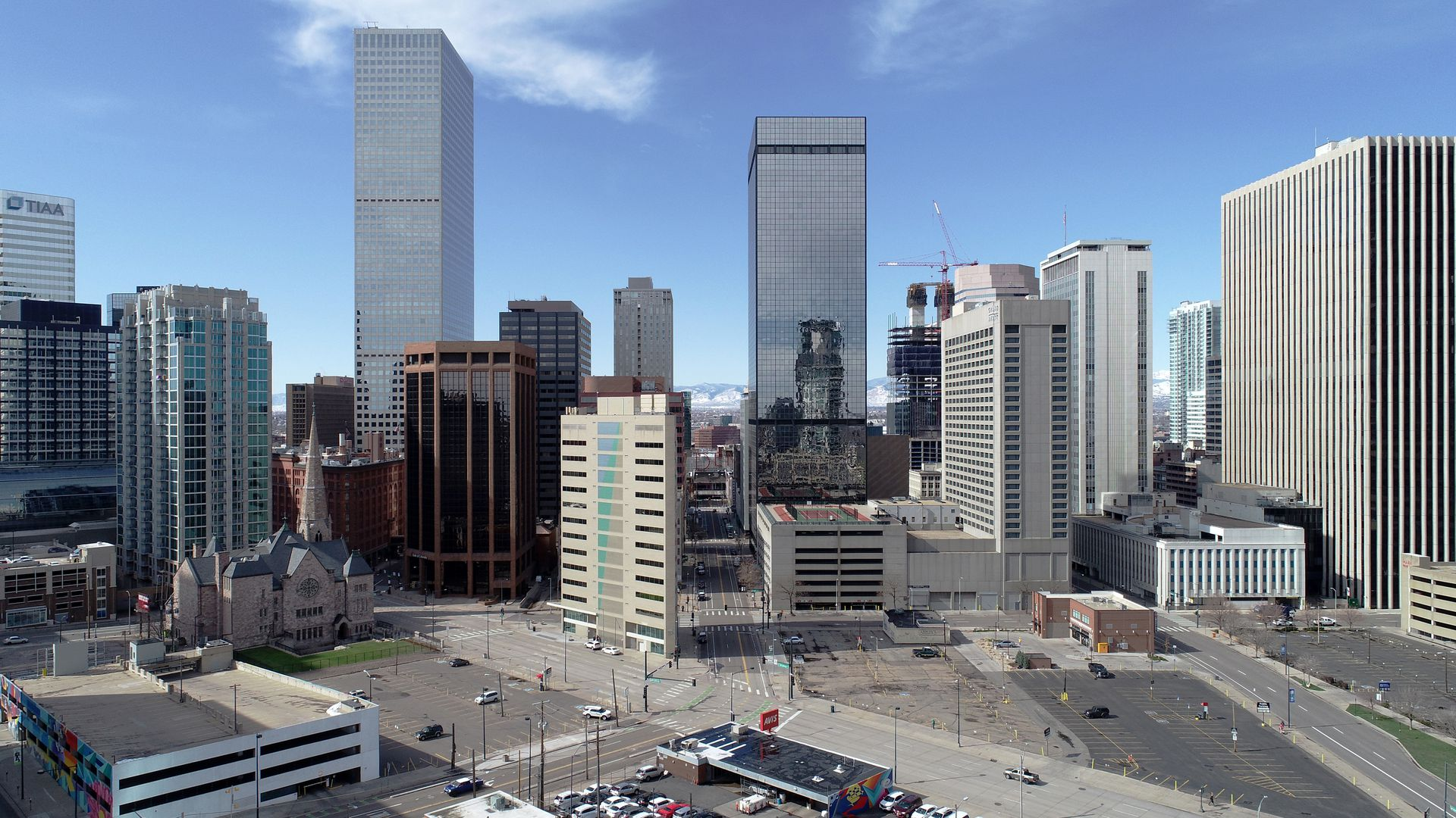 A photo of Denver's skyline and empty streets taken at the start of the pandemic last March.
