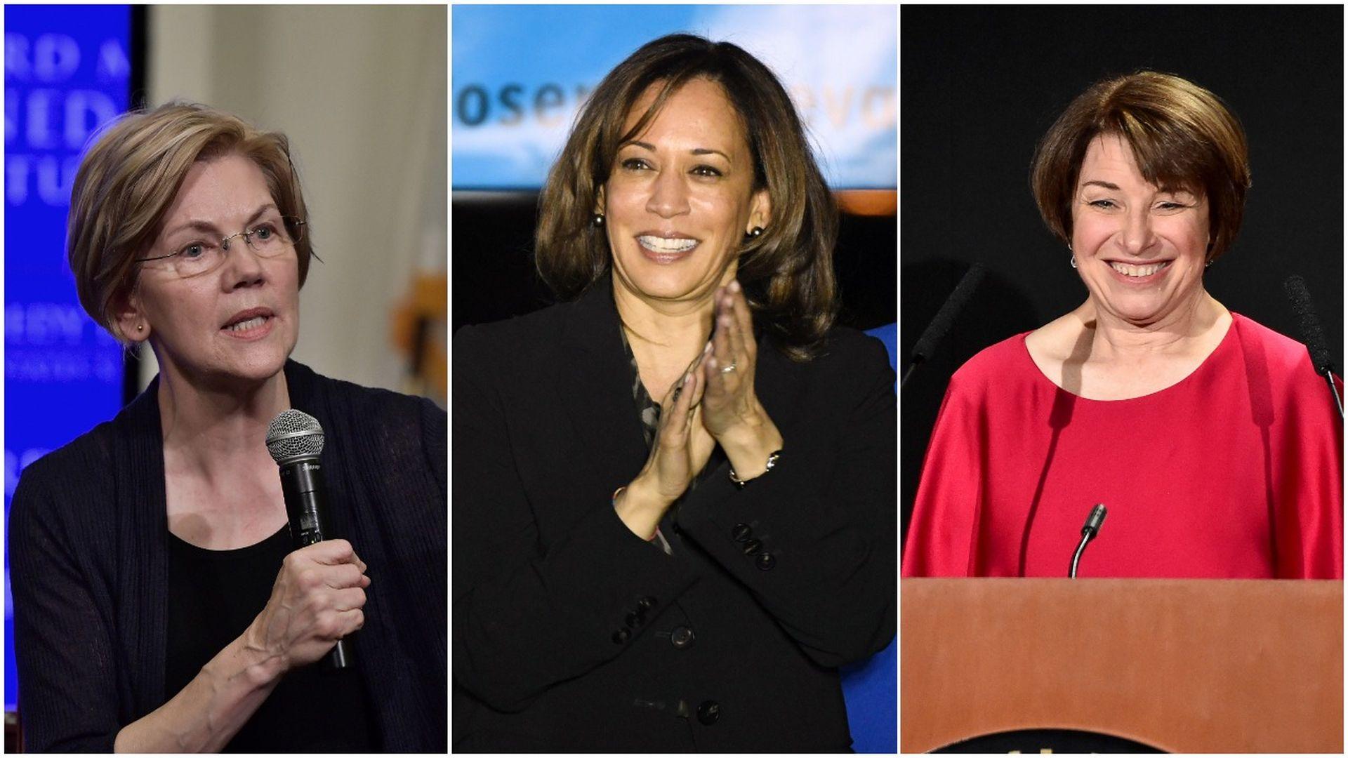 Elizabeth Warren, Kamala Harris, Amy Klobuchar