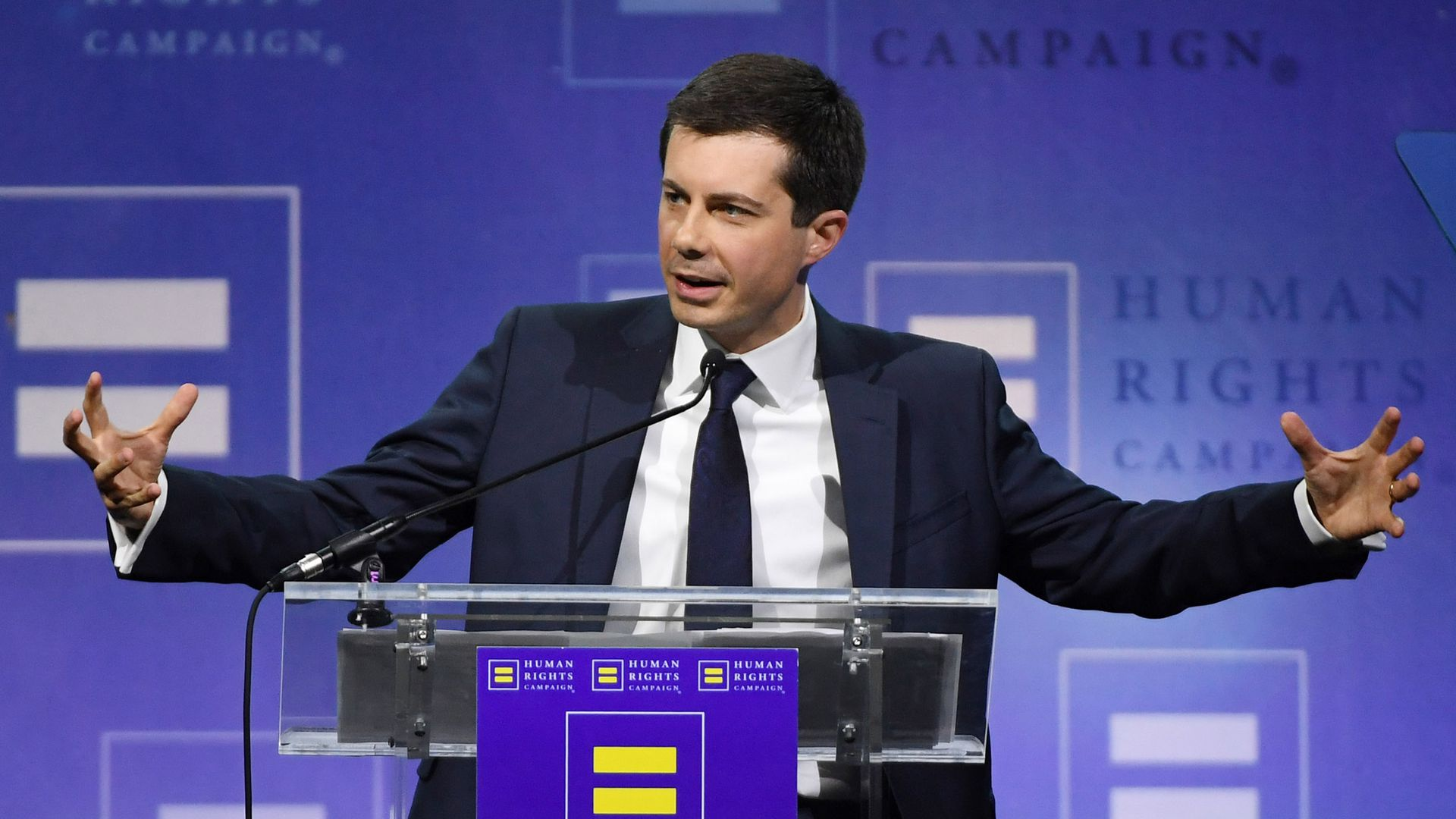 South Bend, Indiana Mayor Pete Buttigieg delivers a keynote address at the Human Rights Campaign's (HRC) 14th annual Las Vegas Gala at Caesars Palace on May 11.
