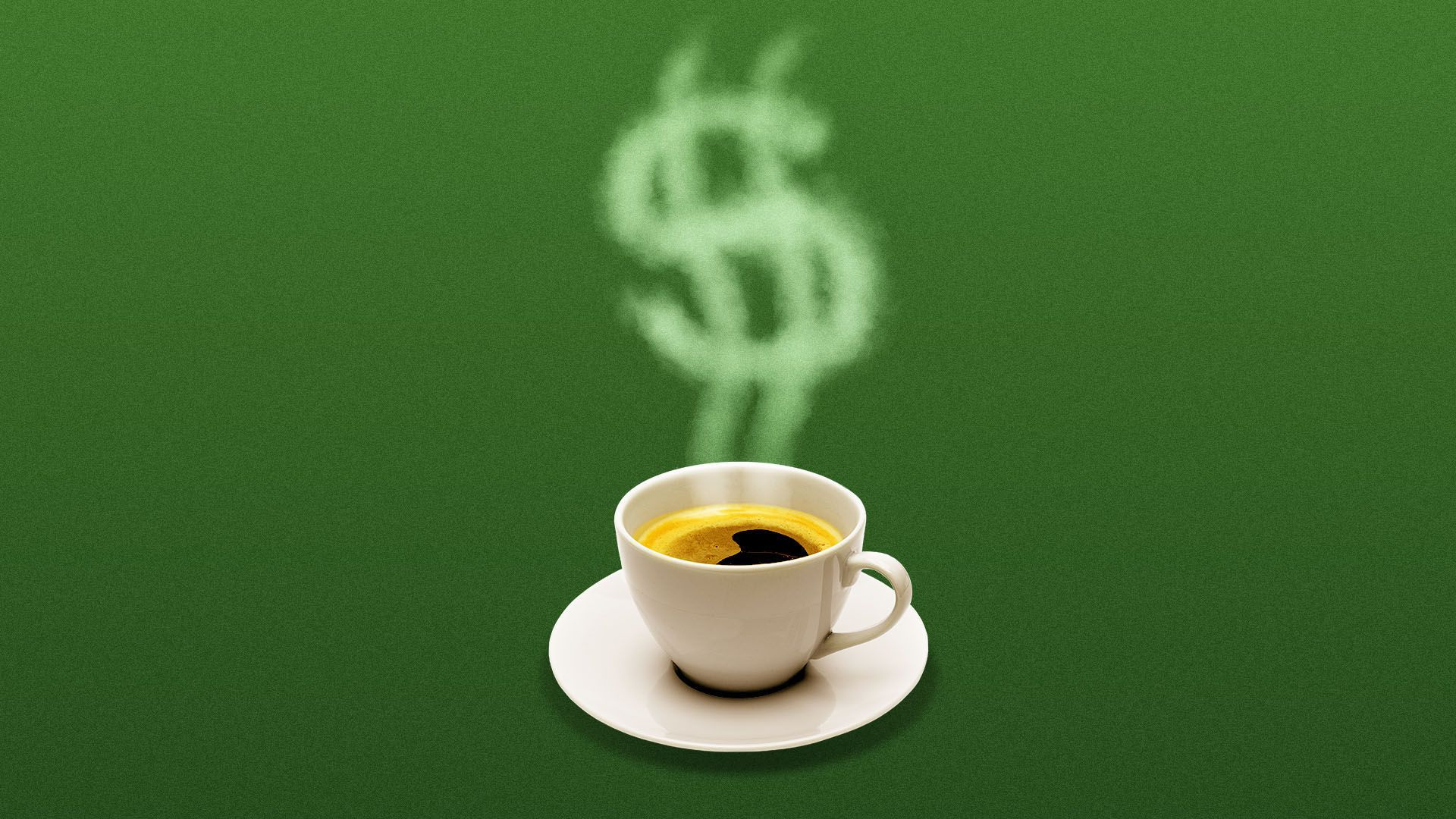 Illustration of a coffee cup with steam in the shape of a dollar sign.