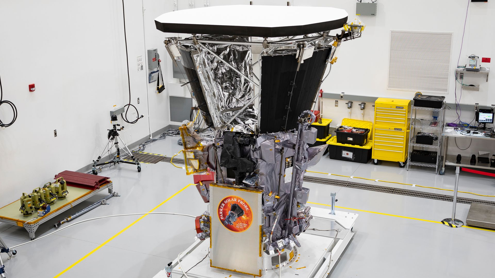 Parker Solar Probe sits in a clean room on July 6, 2018, at Astrotech Space Operations in Titusville, Florida, after the installation of its heat shield.