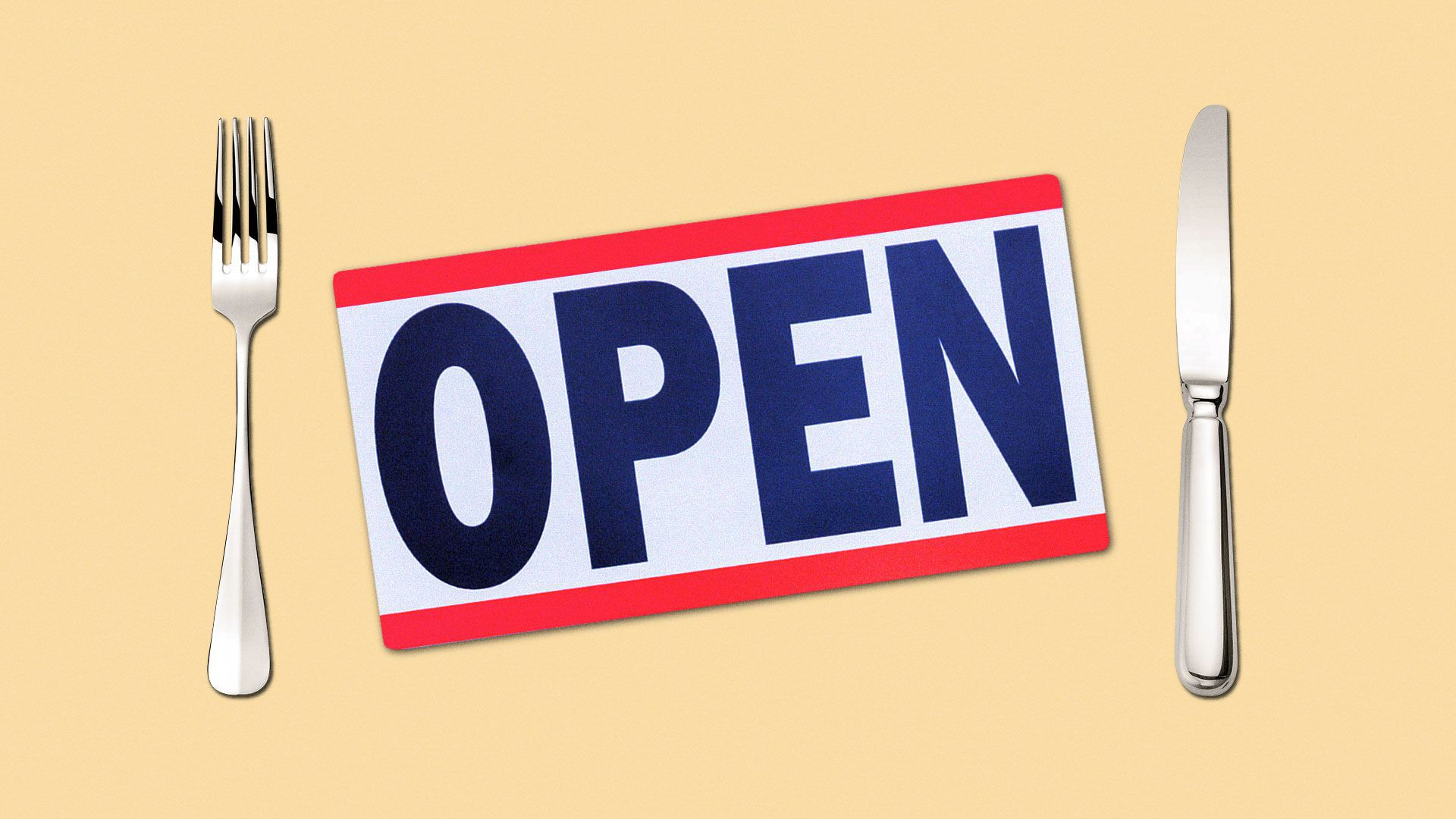 Illustration of an open sign with a fork and knife.