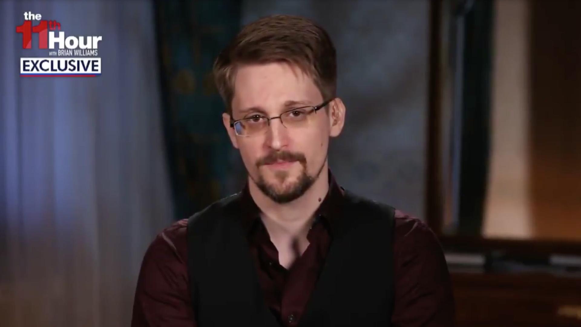 """NSA whistleblower Edward Snowden is interviewed on MSNBC's """"11th Hour."""""""