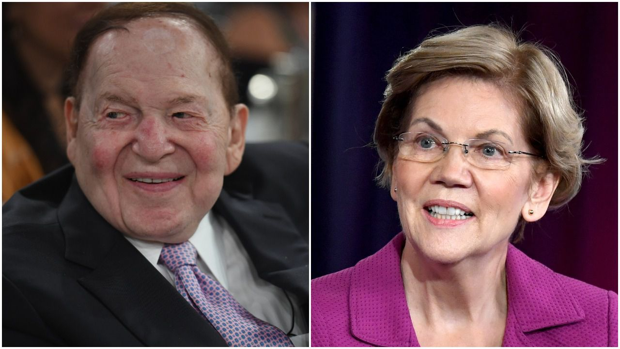 Warren targets billionaire Sheldon Adelson with ad buy in his newspaper - Axios