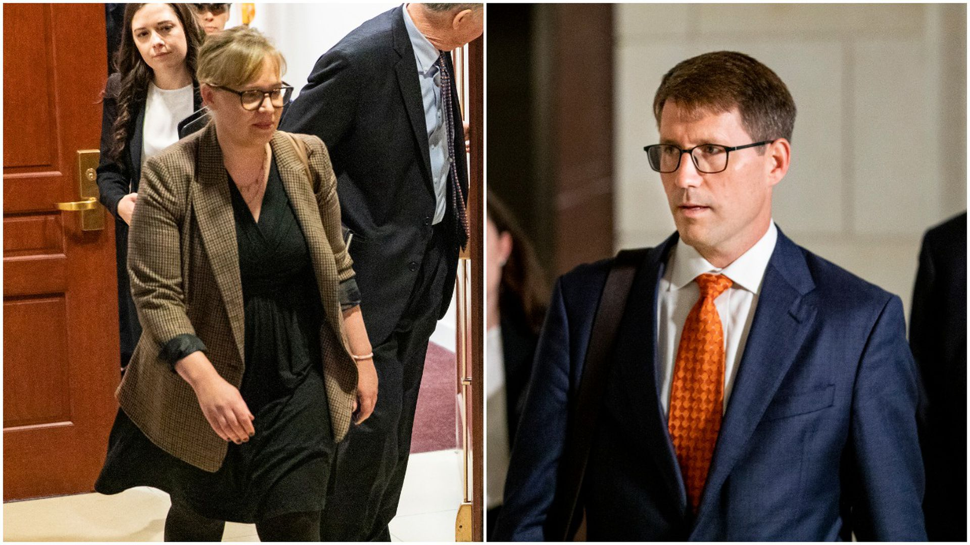 This image is a split screen between Croft and Anderson, who are both walking down hallways in Congress