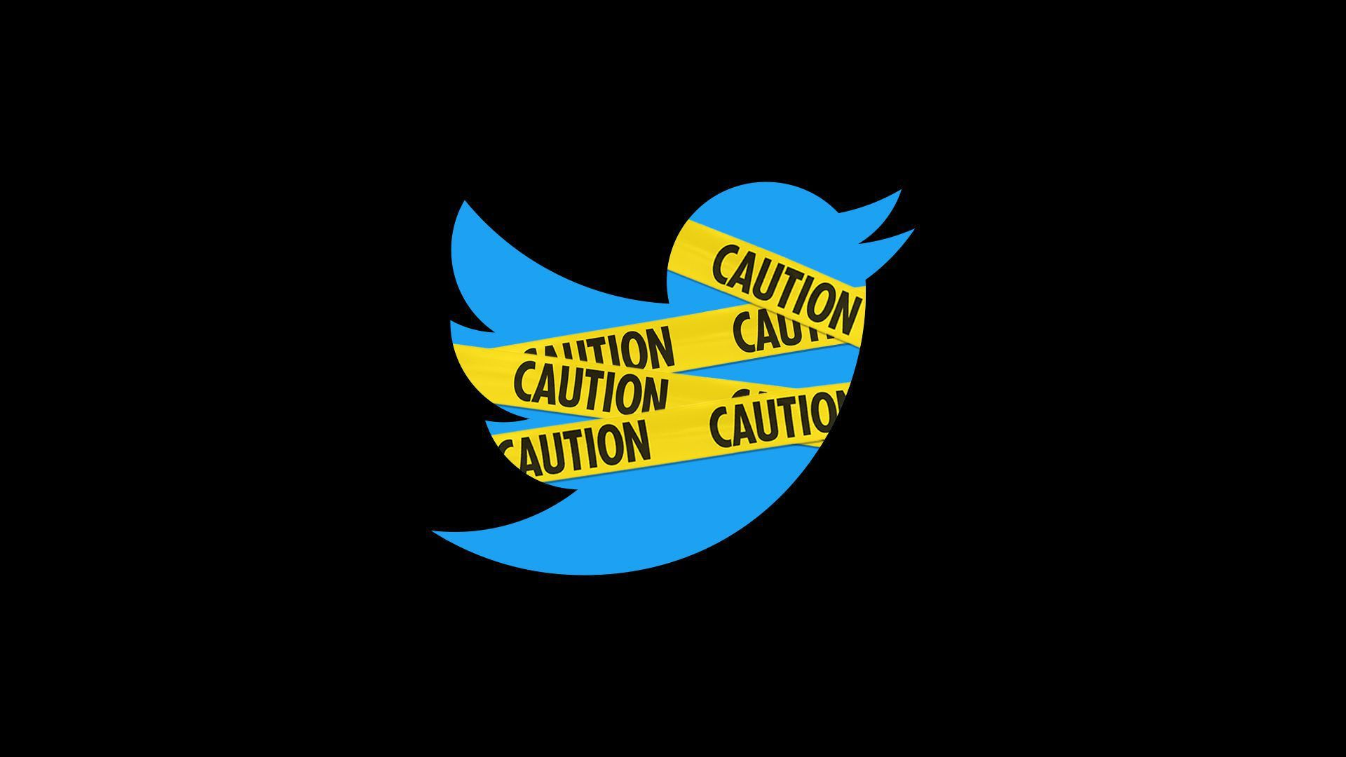 Illustration of the Twitter logo wrapped in caution tape