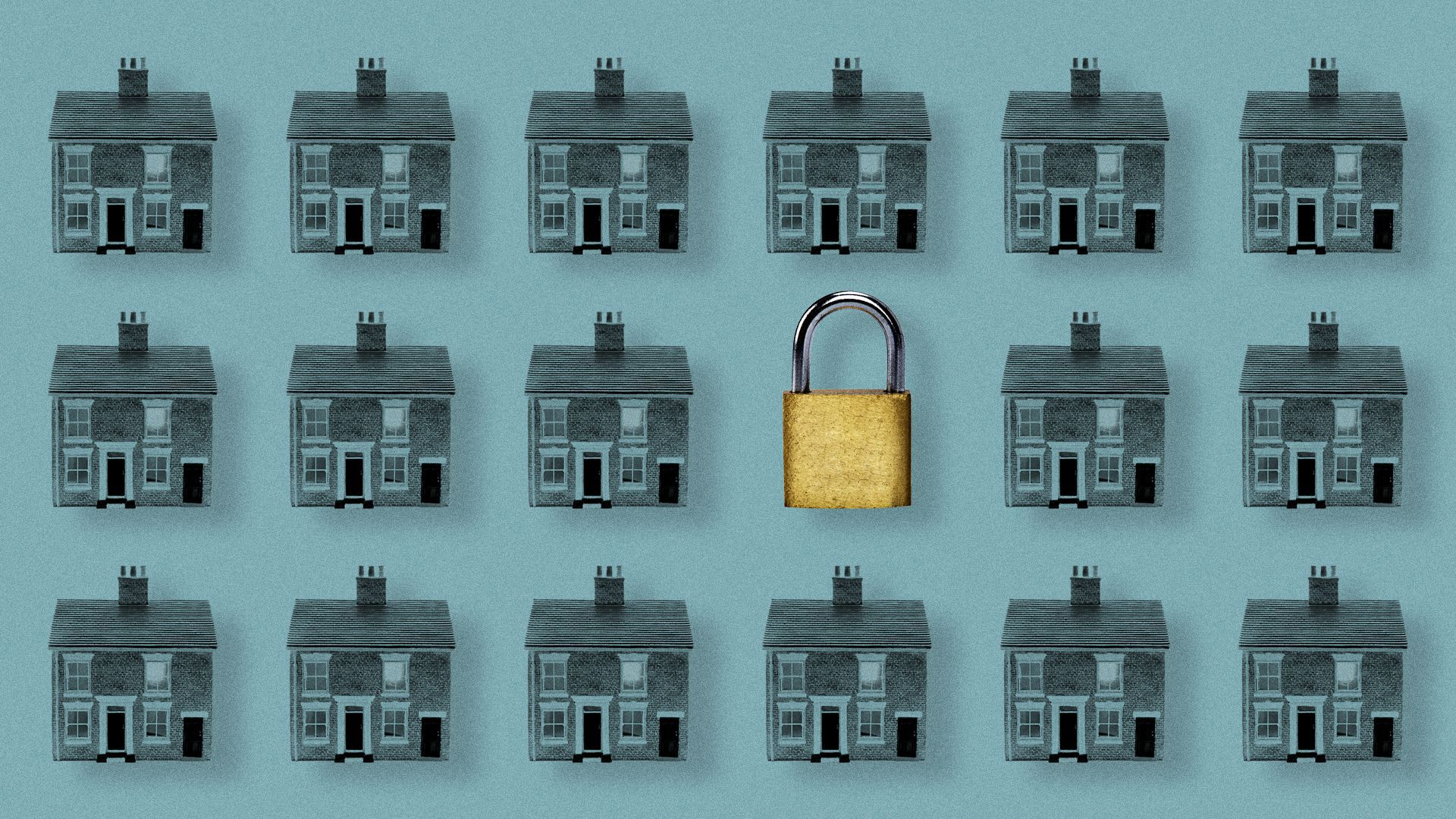 Three rows of identical houses on a blue background, with one of the houses replaced with a lock.
