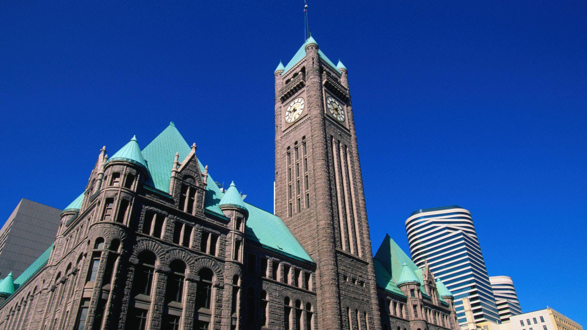 The exterior of Minneapolis City Hall.