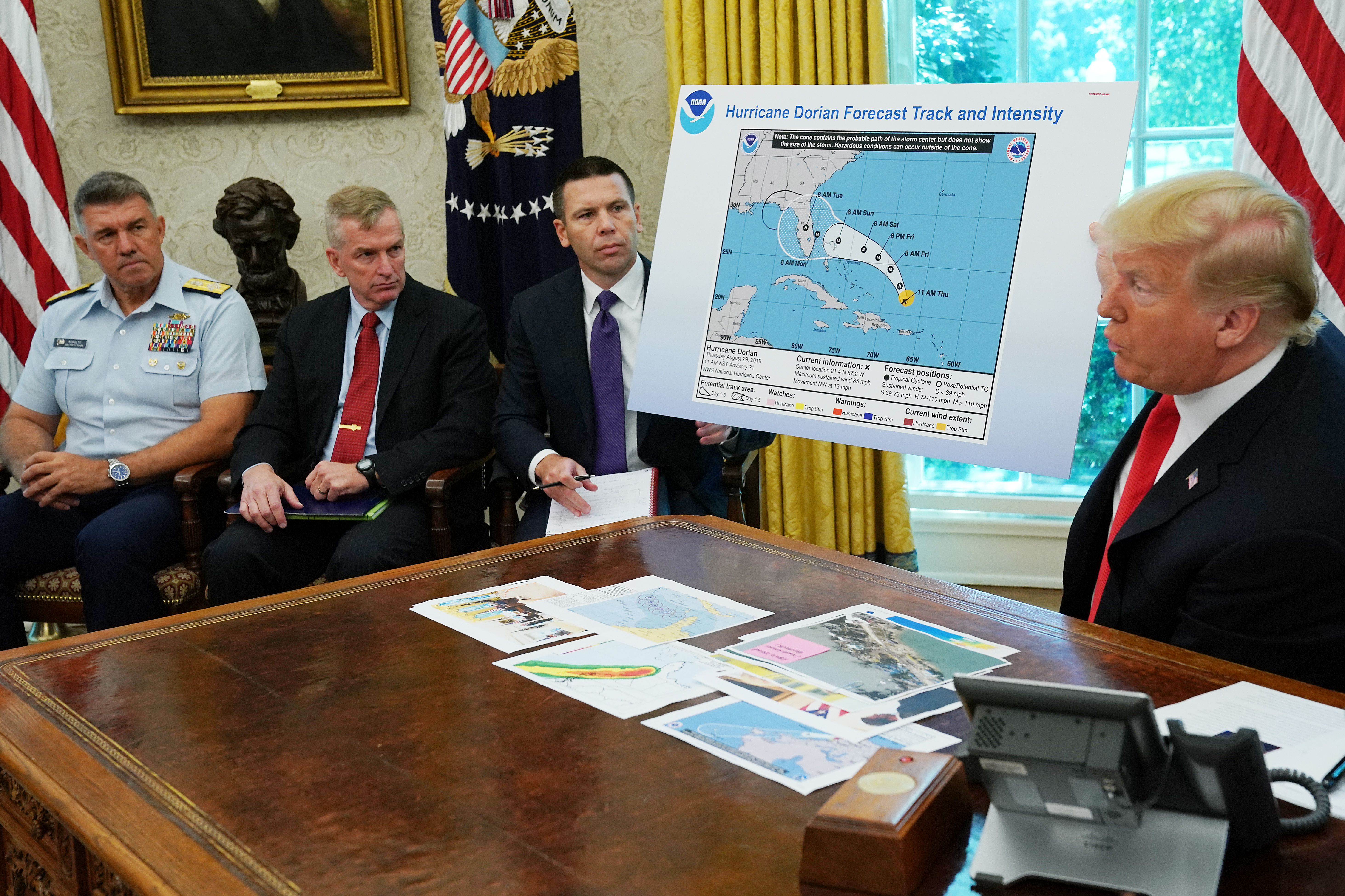 Trump uses doctored map to back false claim about Hurricane Dorian - Axios