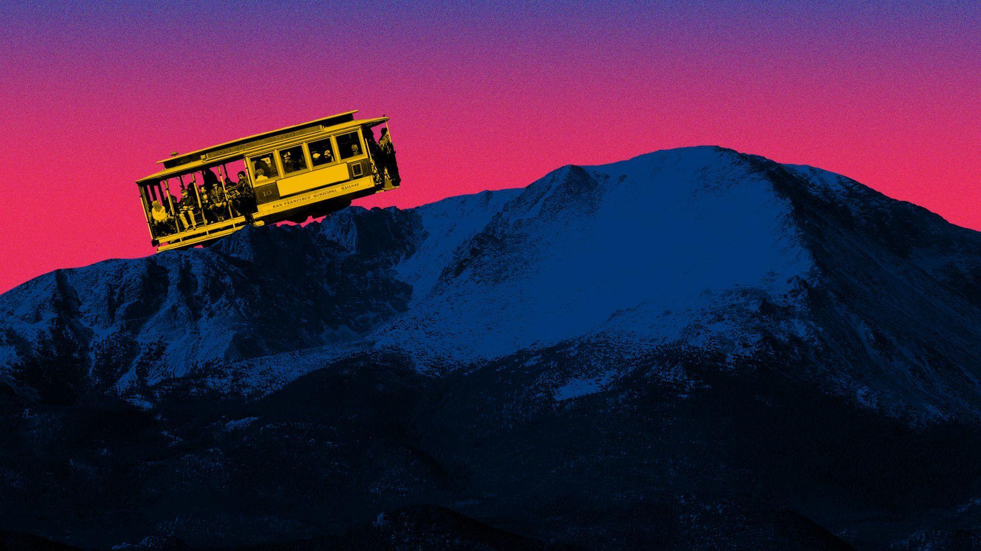 Photo illustration of a San Francisco trolley climbing a mountain.