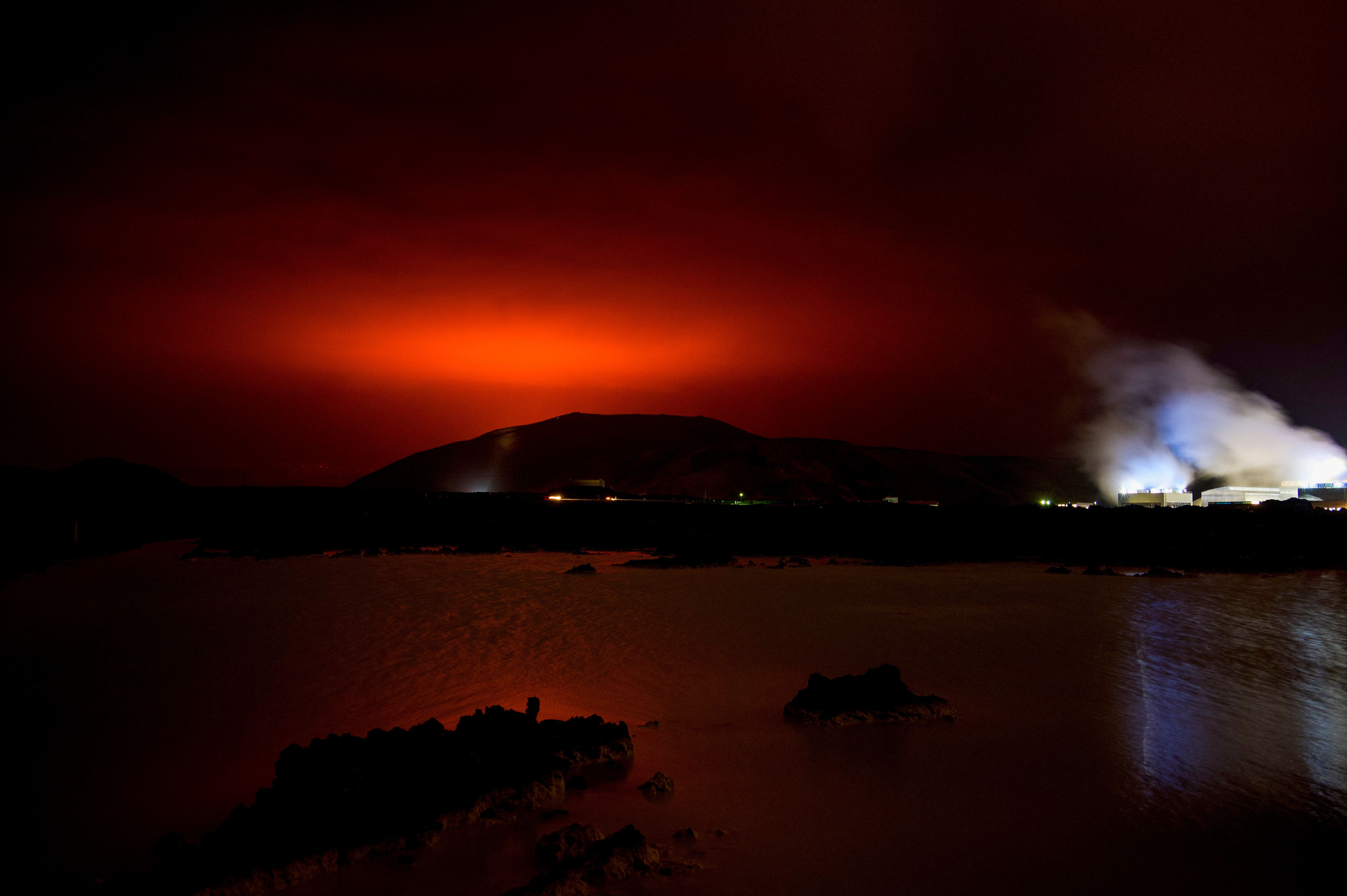 The glow of the eruption as seen near Reykjavik on March 19.