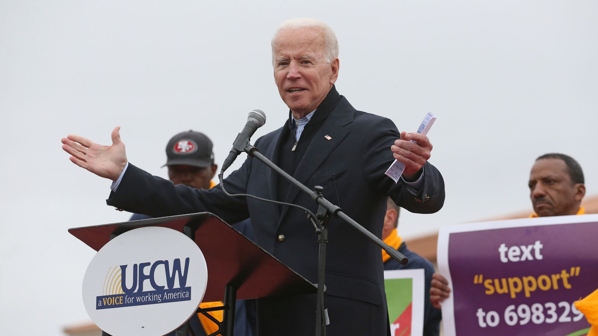 Former Vice President Joe Biden speaks during a rally for striking workers outside the South Bay Stop & Shop