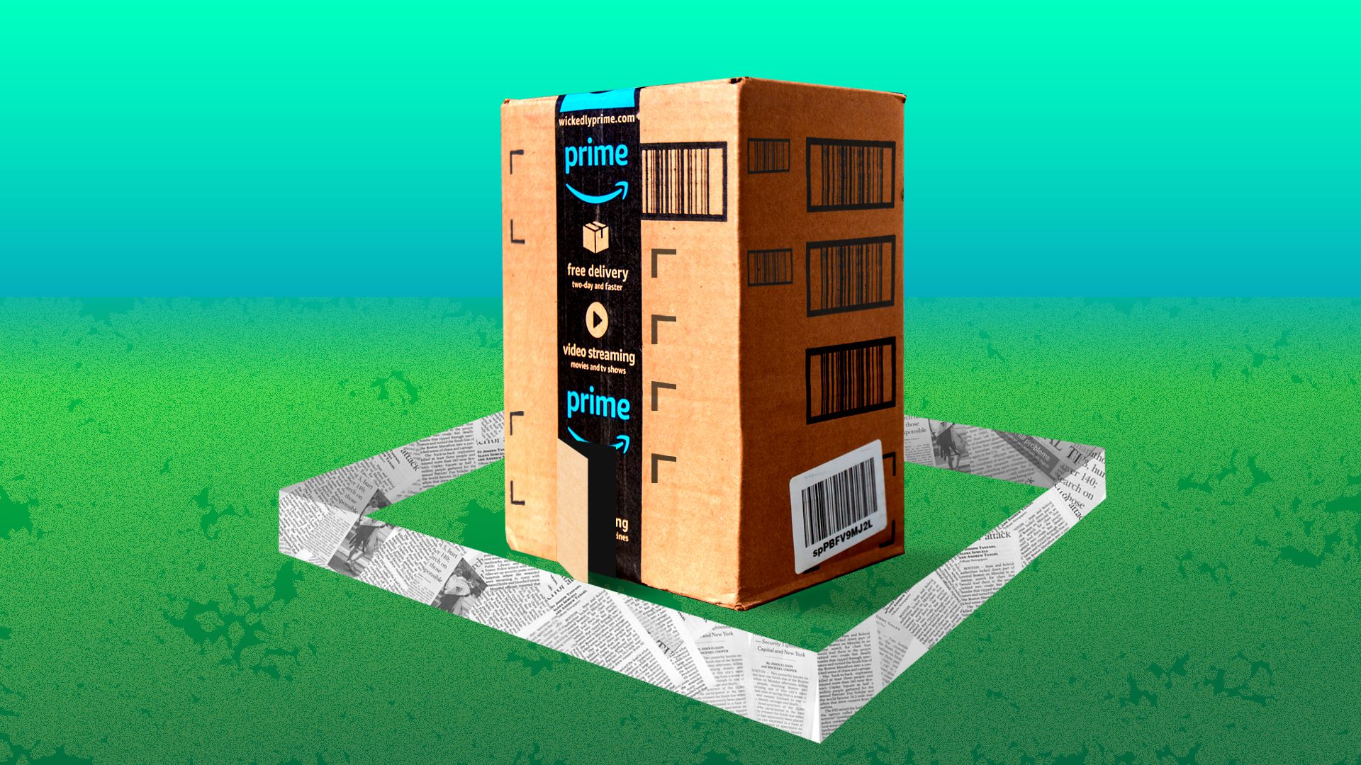Illustration of an Amazon package surrounded by a newspaper fence