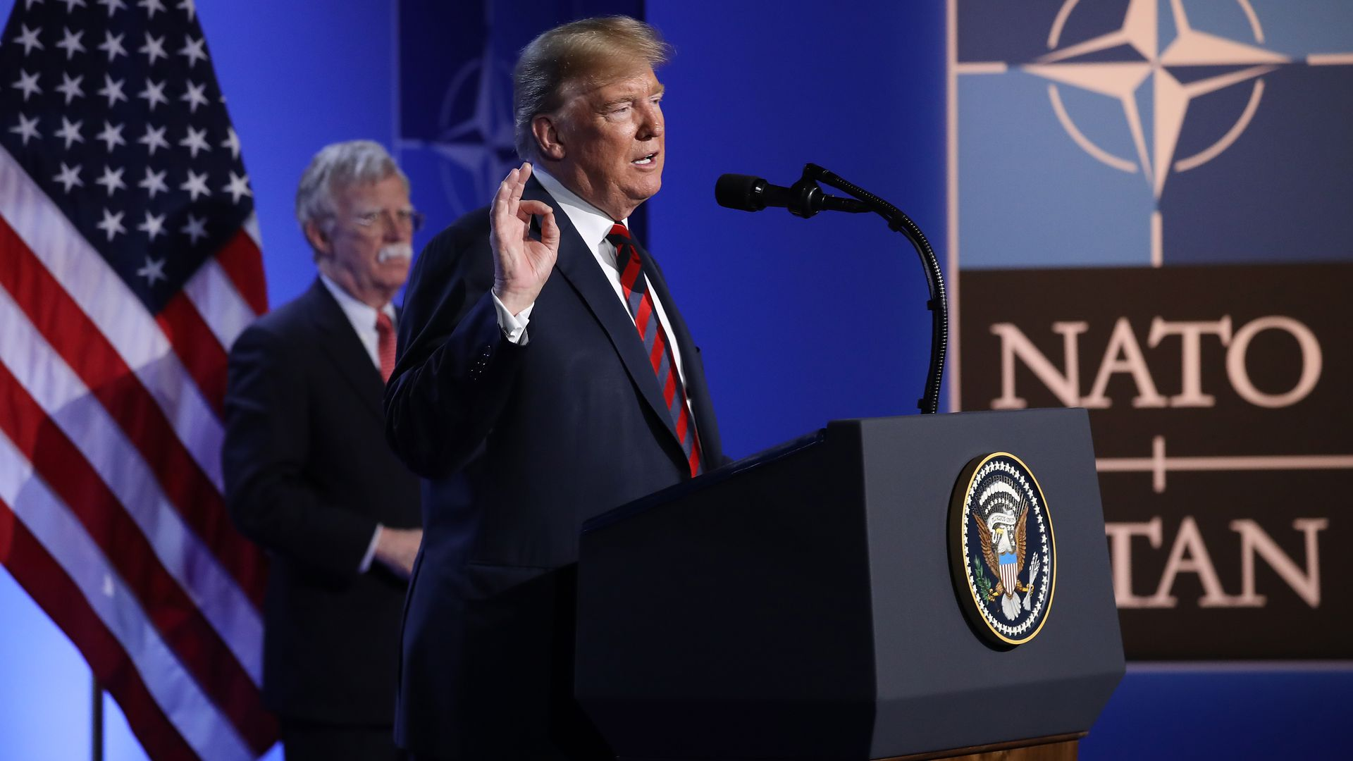 President trump speaks at NATO summit