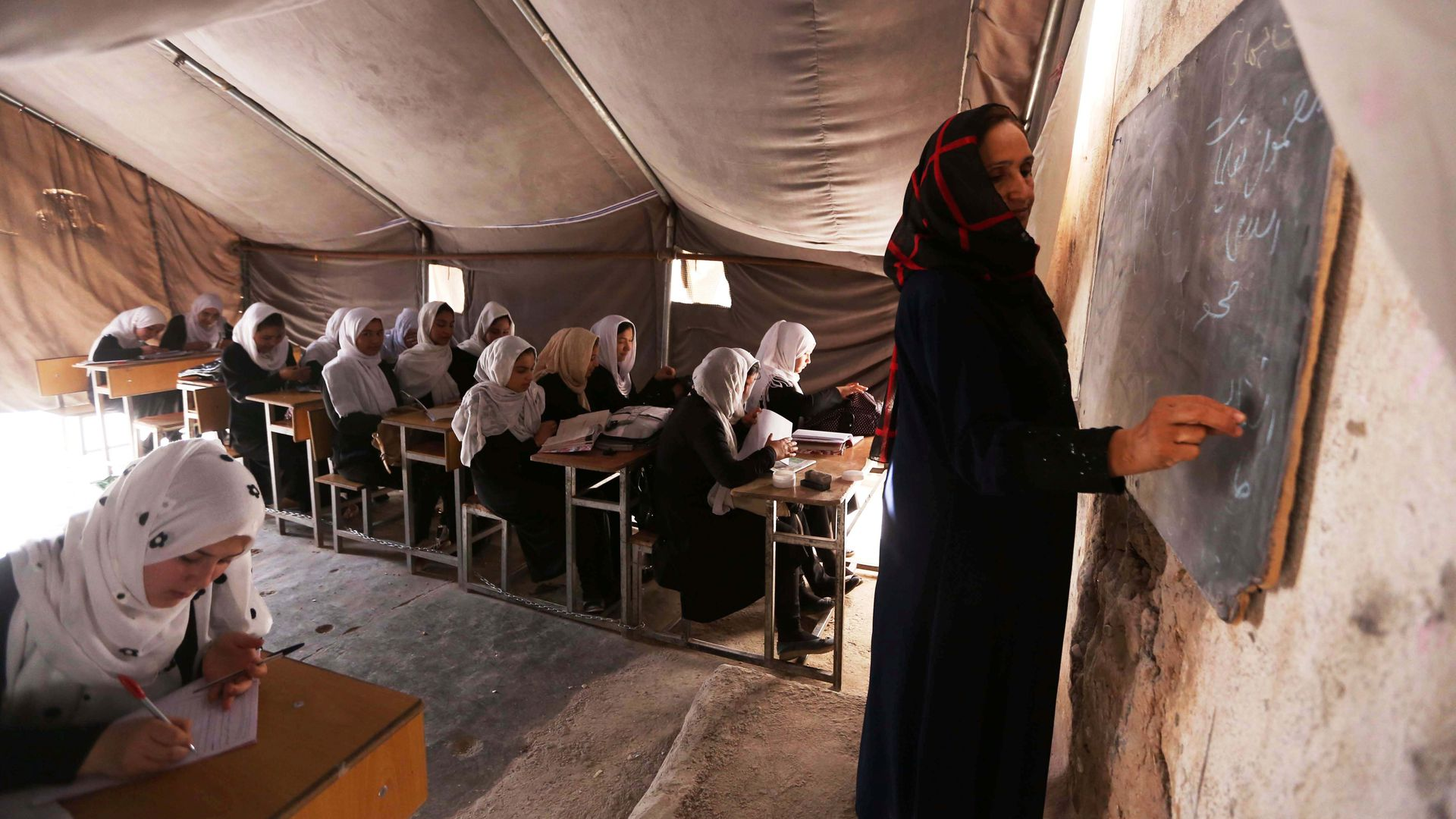 Afghan schoolgirls attend a class at a local school in Herat province in 2017.