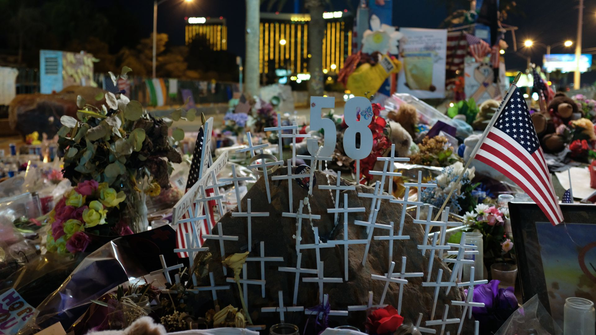 A memorial for the victims after the mass shooting in Las Vegas, Nevada, that took 58 lives, October 28, 2017.