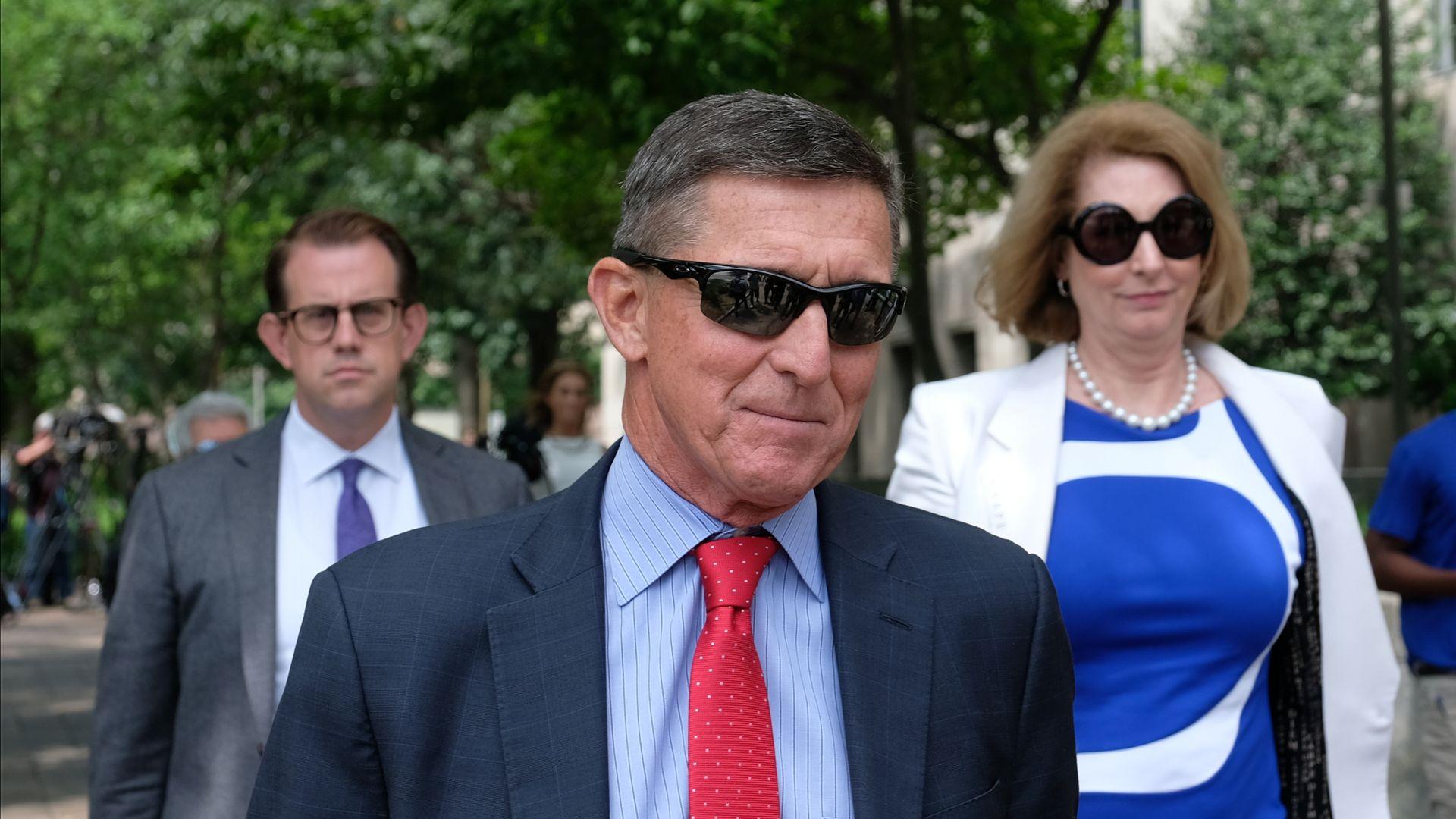 : President Donald Trump's former National Security Adviser Michael Flynn leaves the E. Barrett Prettyman U.S. Courthouse on June 24, 2019 in Washington, DC.