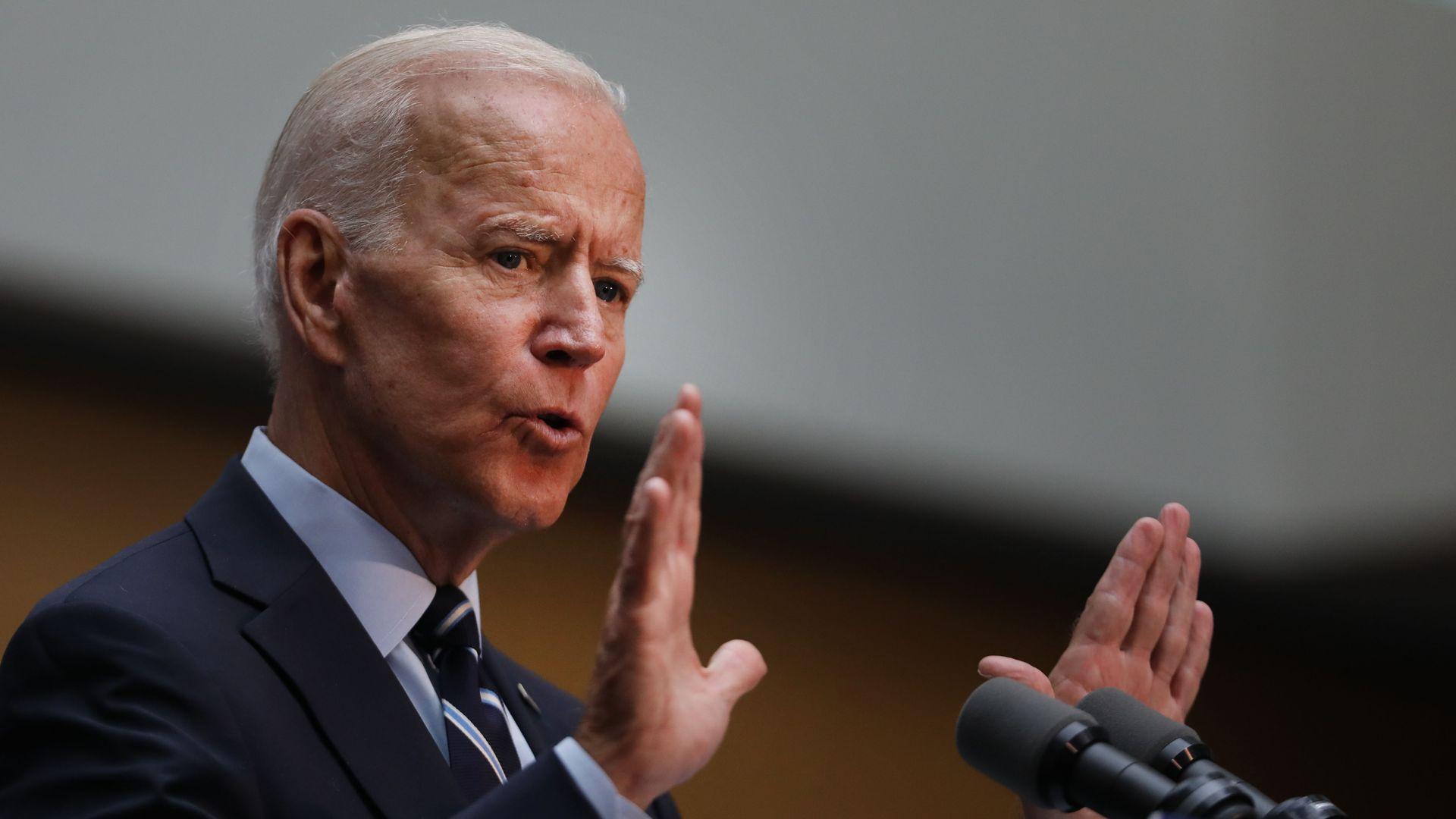 Joe Biden gives a speech