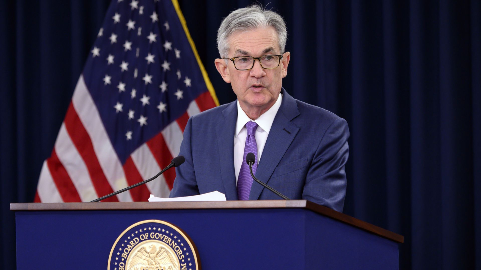 US Federal Reserve Chairman Jerome Powell speaks during a press conference after a Federal Open Market Committee meeting in Washington, DC on July 31, 2019