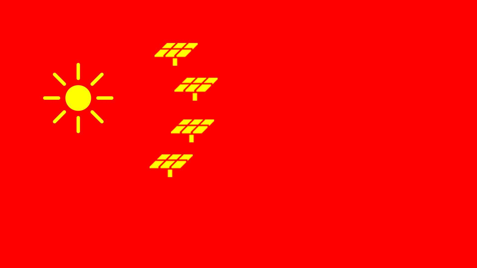 Chinese flag redesigned with the sun and solar panels