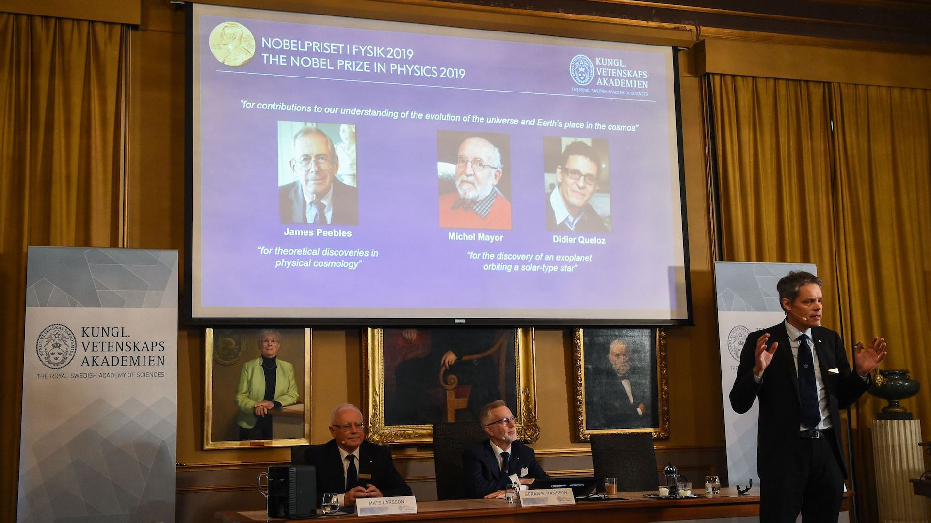 3 scientists win Nobel Prize in physics for discoveries in exoplanets, cosmology
