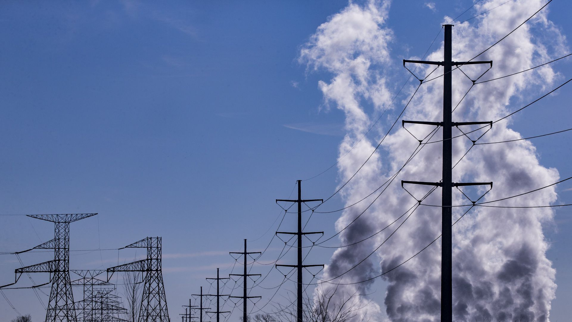 Smoke rises above a natural gas power plant outside of Dallas, Texas, on January 04, 2018.