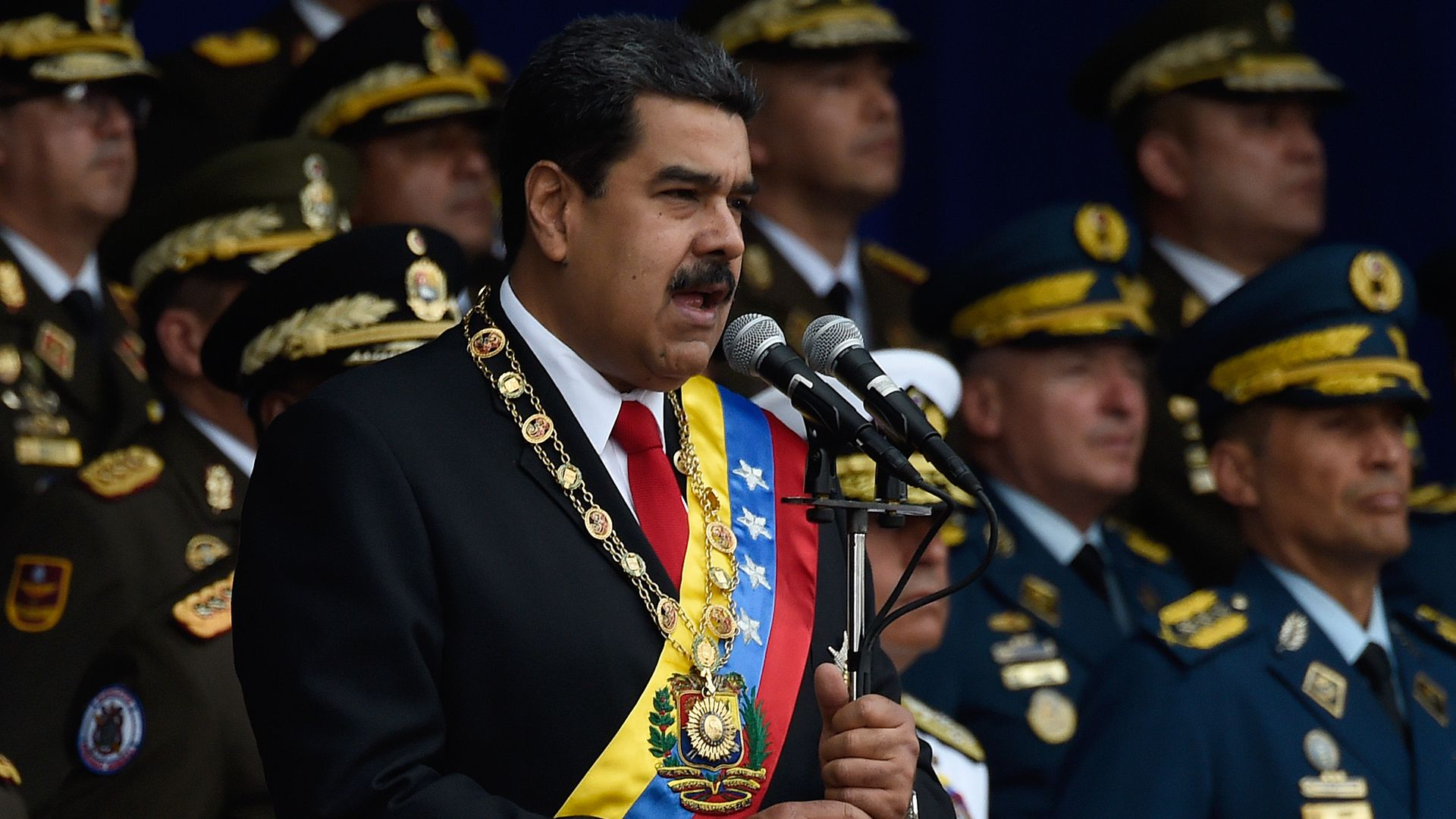 Venezuelan President Nicolas Maduro delivers a speech during a ceremony to celebrate the 81st anniversary of the National Guard in Caracas on August 4, 2018.