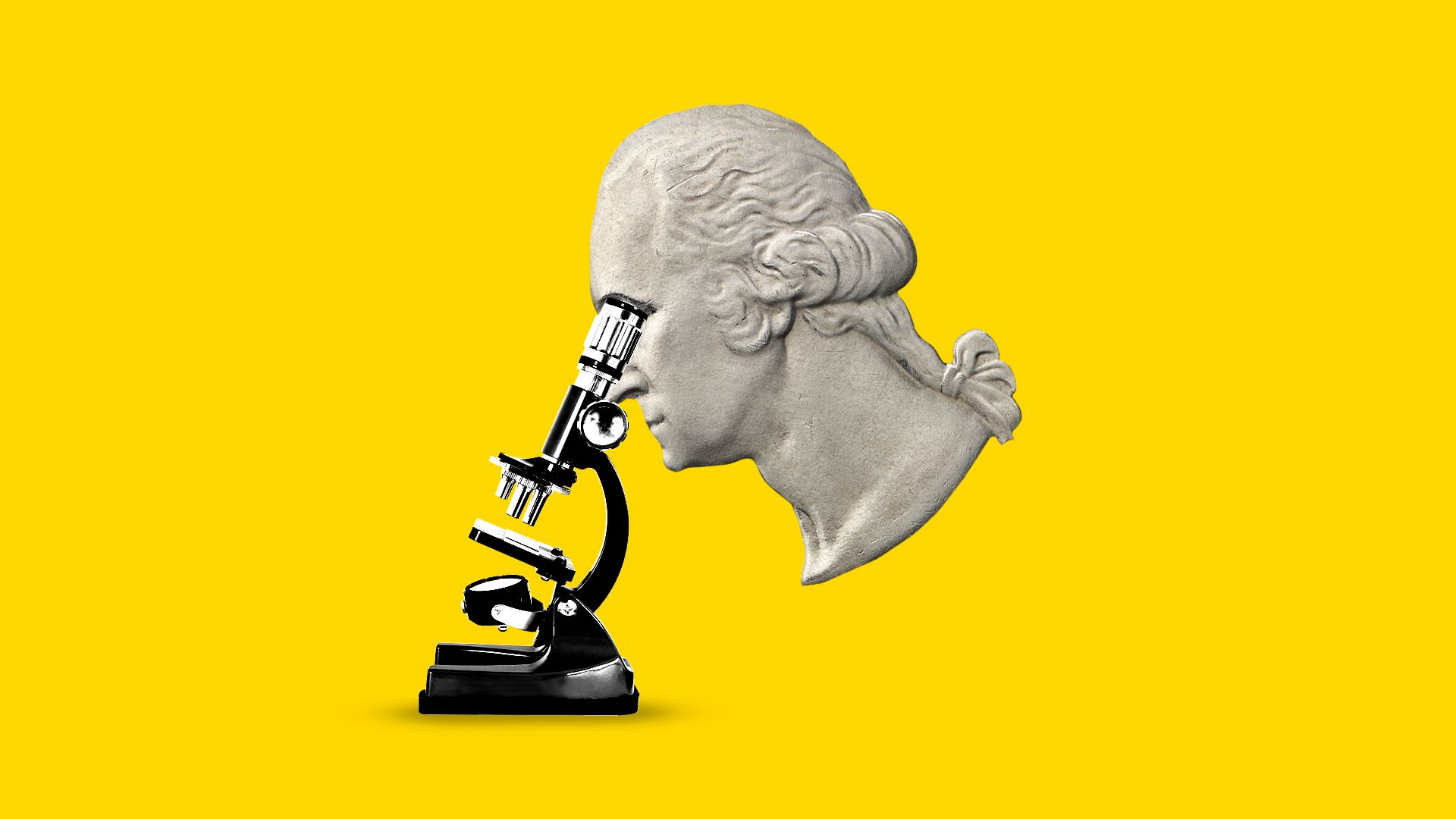 Illustration of George Washington from a quarter looking into a microscope