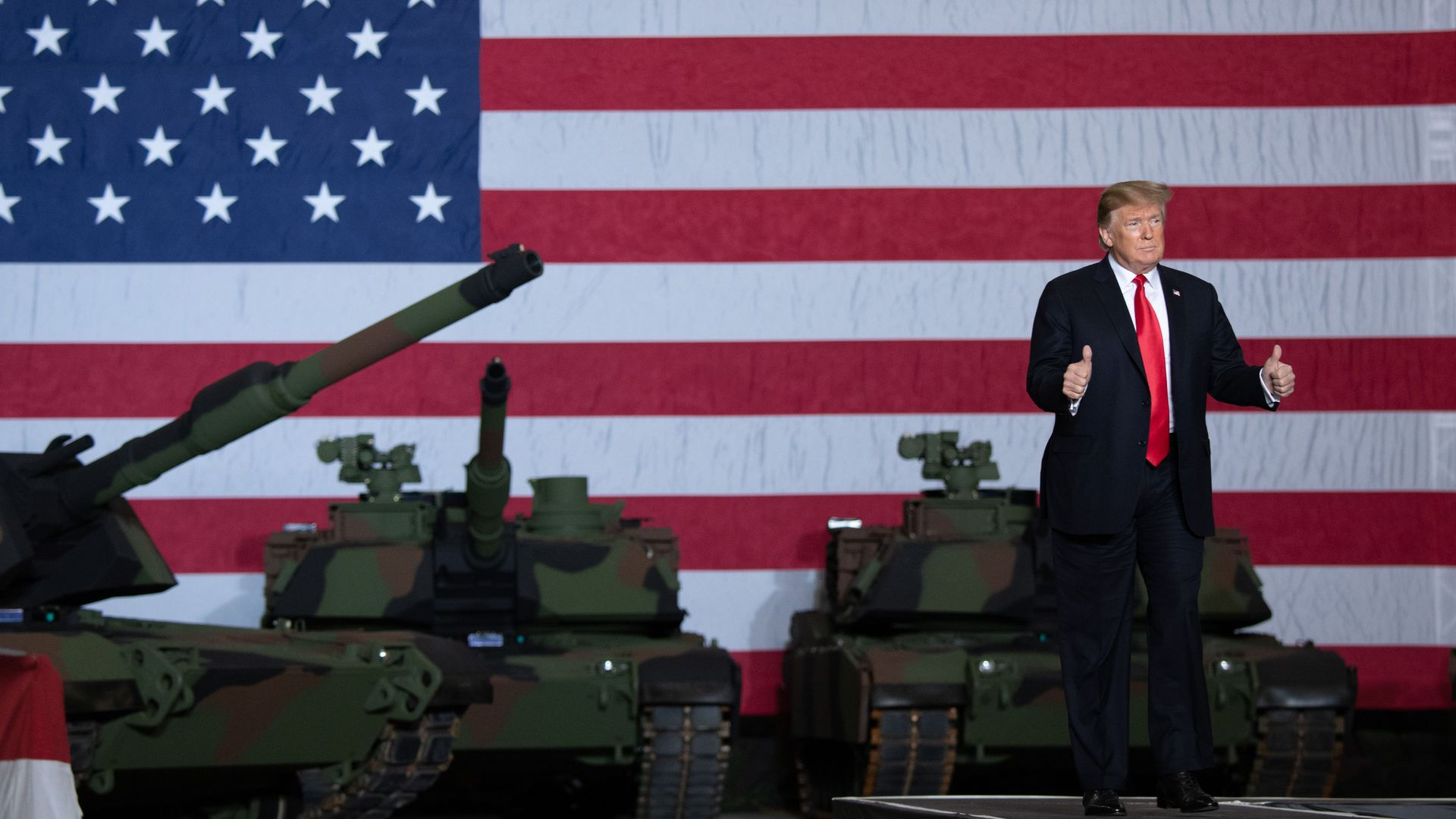 President Donald Trump arrives to speak after touring the Lima Army Tank Plant at Joint Systems Manufacturing in Lima, Ohio, March 20.