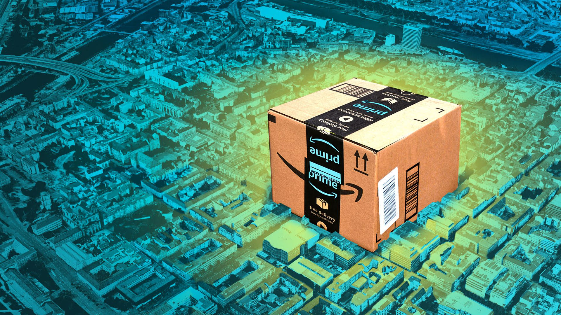 Illustration of an Amazon package in a city